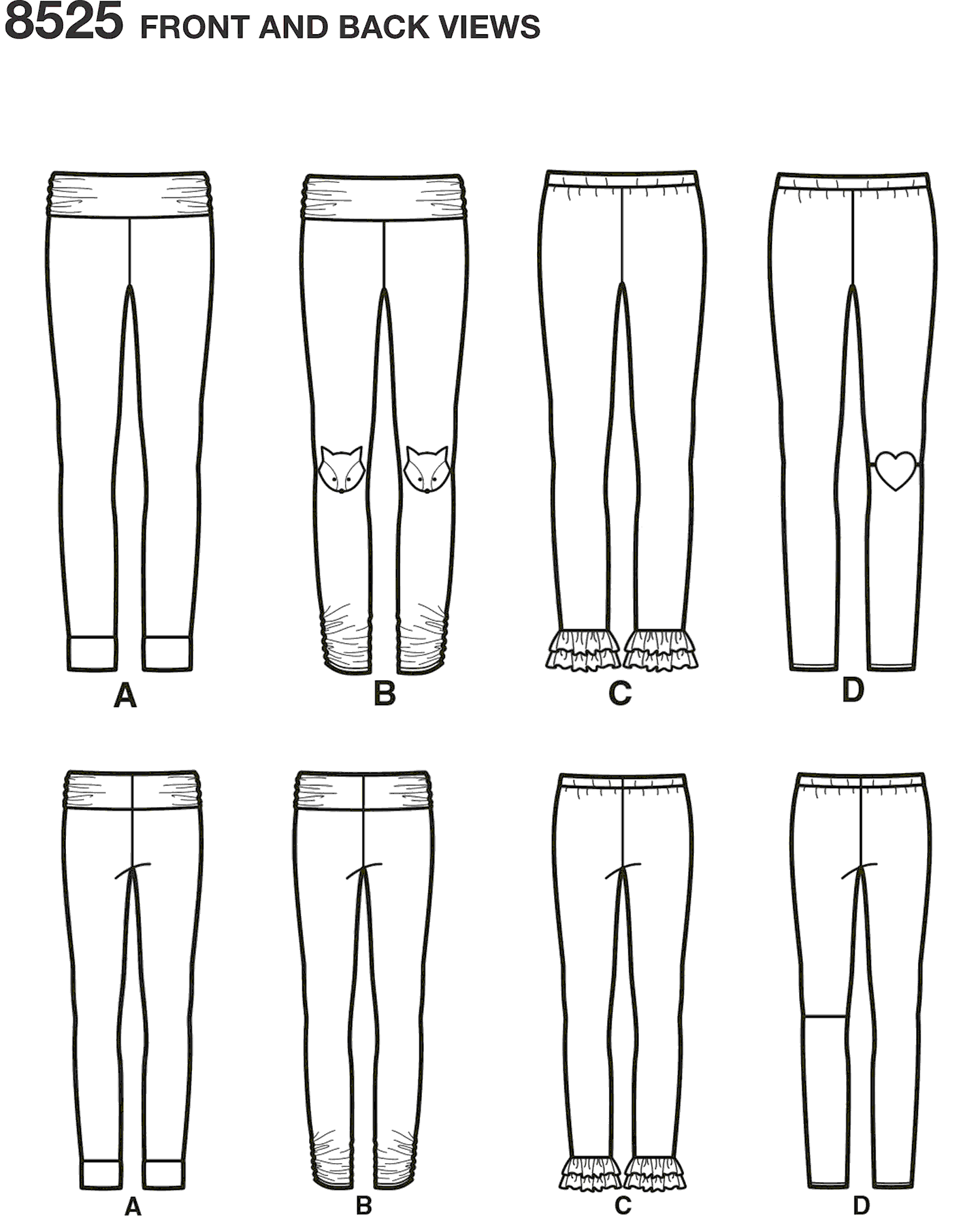 Simplicity Pattern 8525 Childs and Girls Knit Leggings Line Art From Patternsandplains.com