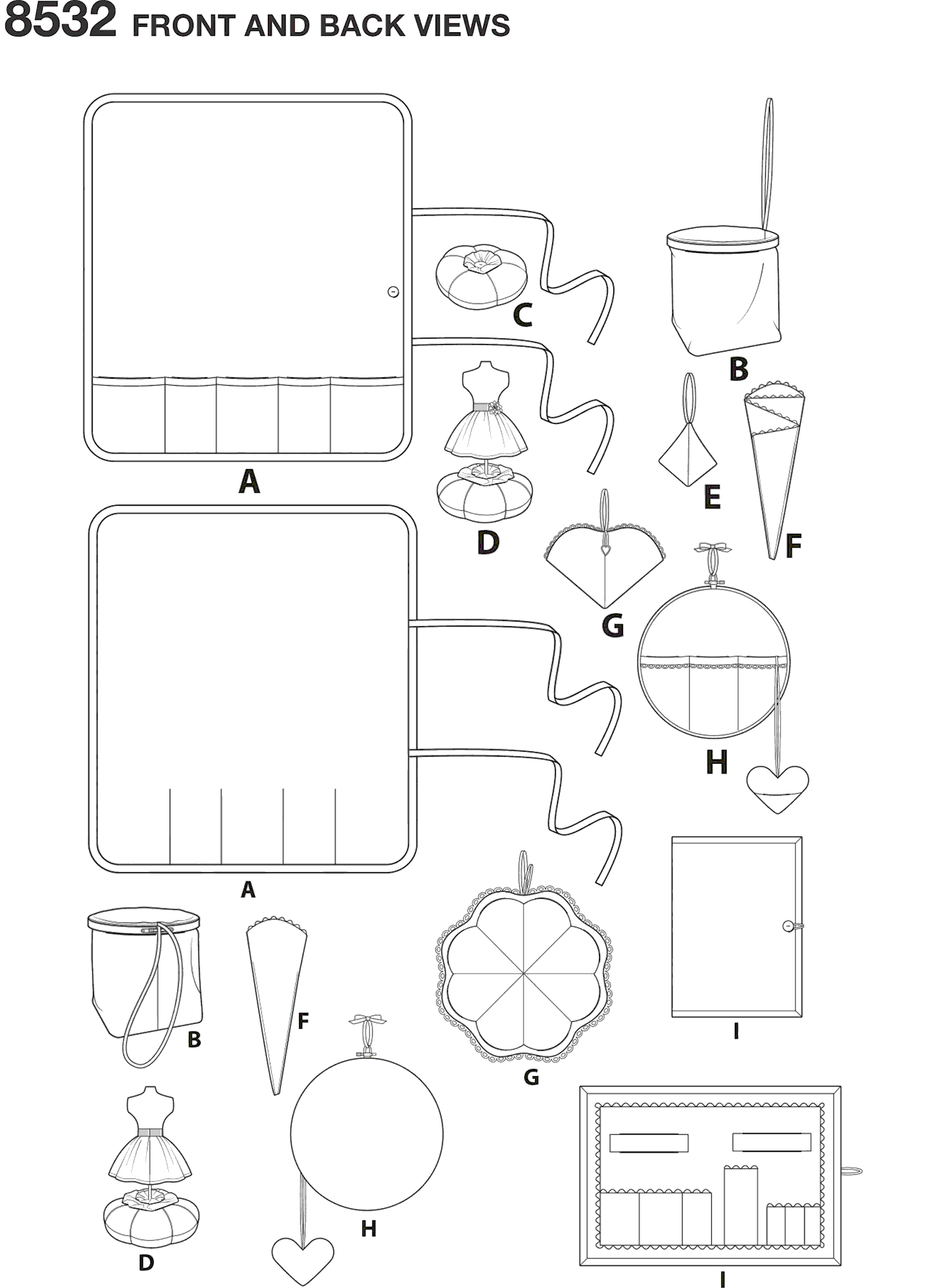 Simplicity Pattern 8532 Sewing Room Accessories Line Art From Patternsandplains.com