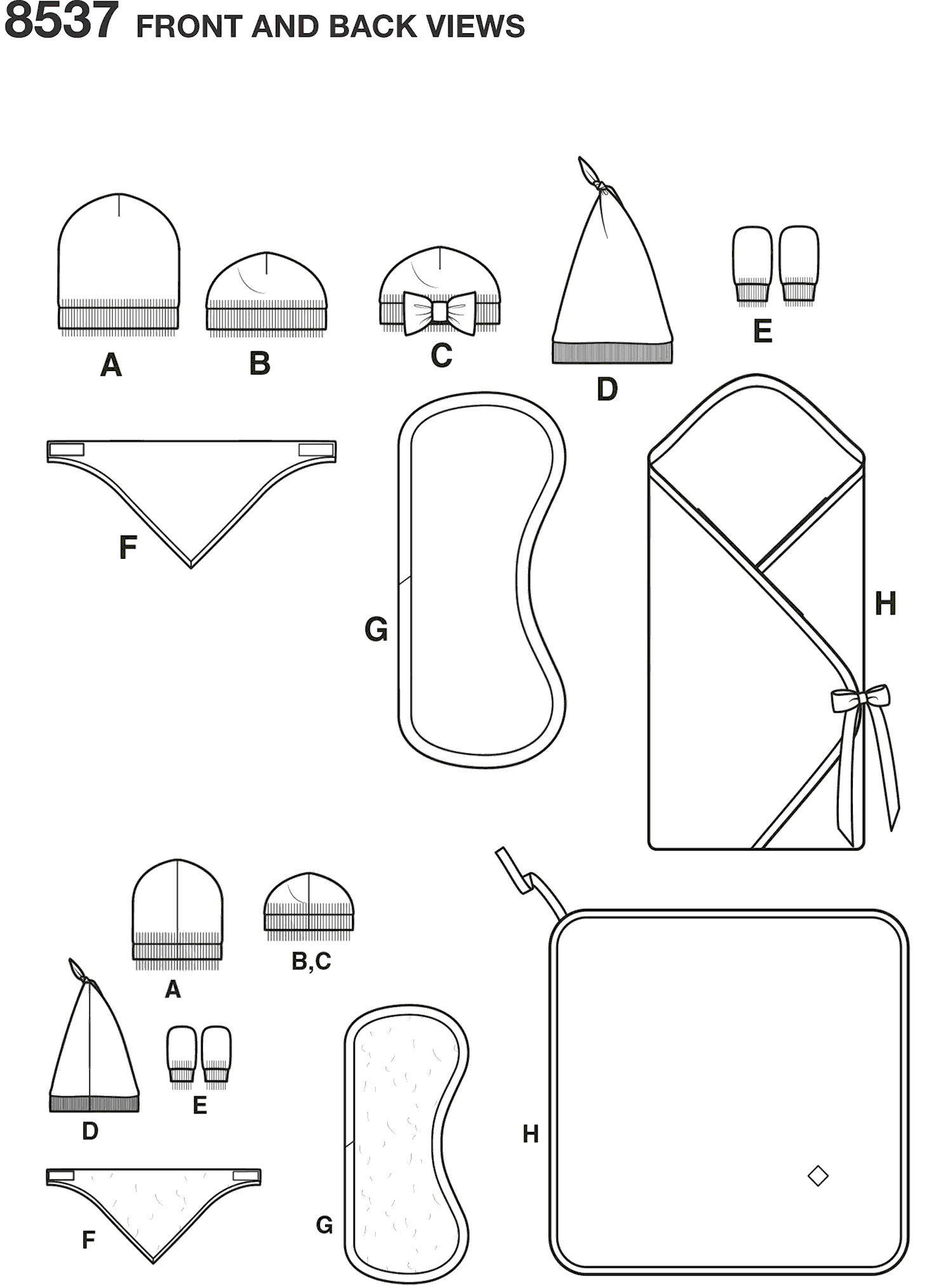 Simplicity Pattern 8537 Baby Accessories Line Art From Patternsandplains.com