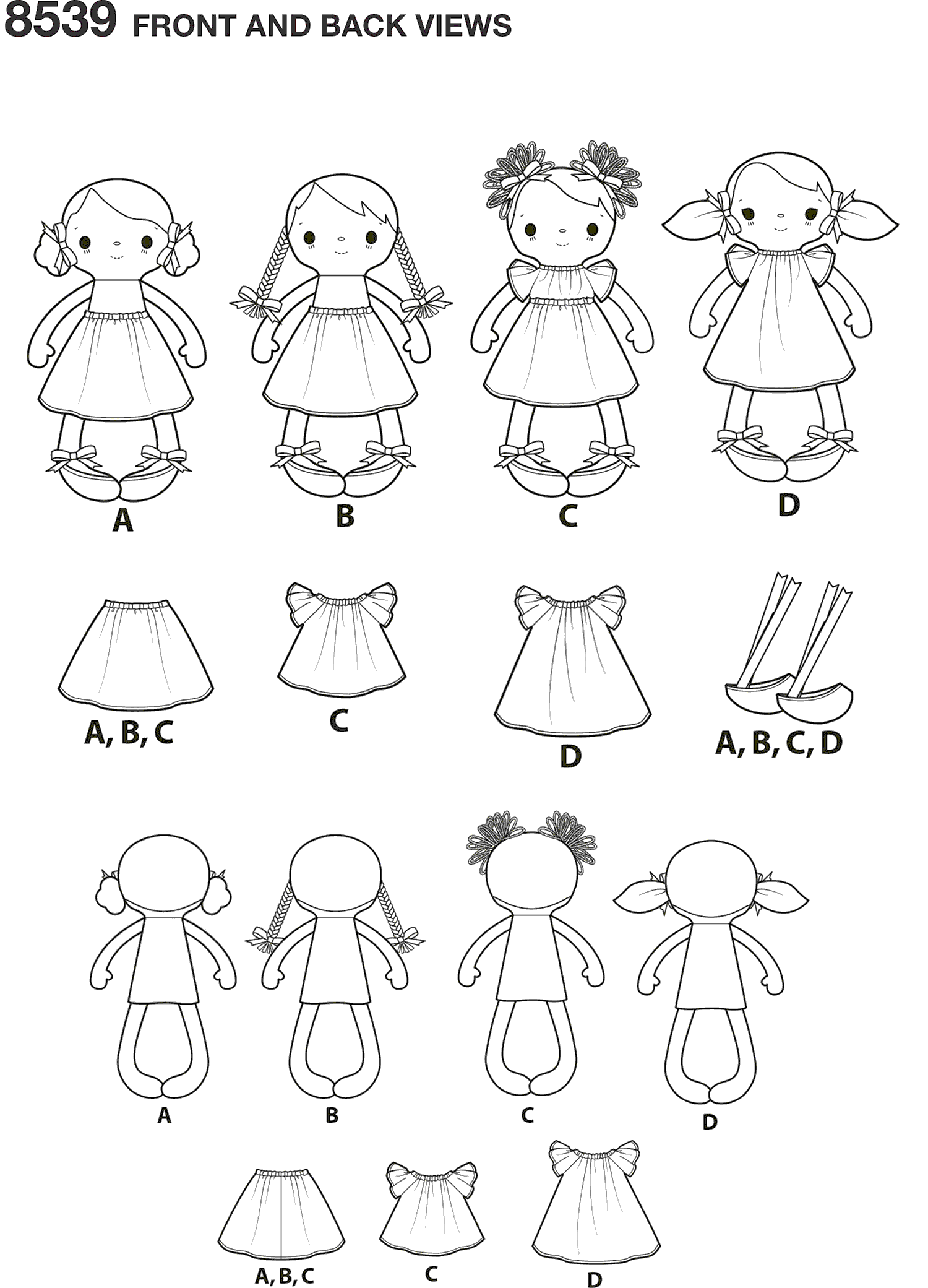 Simplicity Pattern 8539 15 Stuffed Dolls and Clothes Line Art From Patternsandplains.com