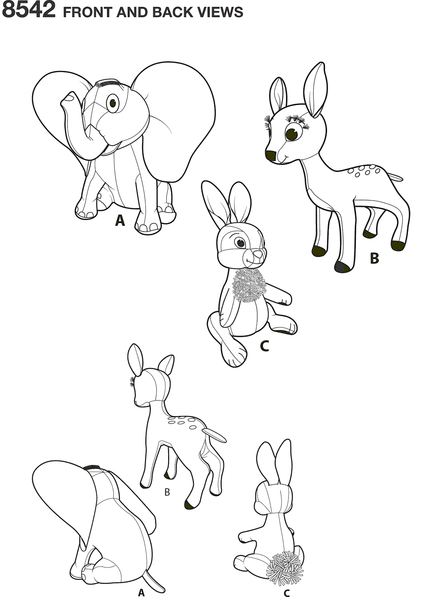 Simplicity Pattern 8542 Vintage Disney Dumbo Bambi and Thumper Line Art From Patternsandplains.com