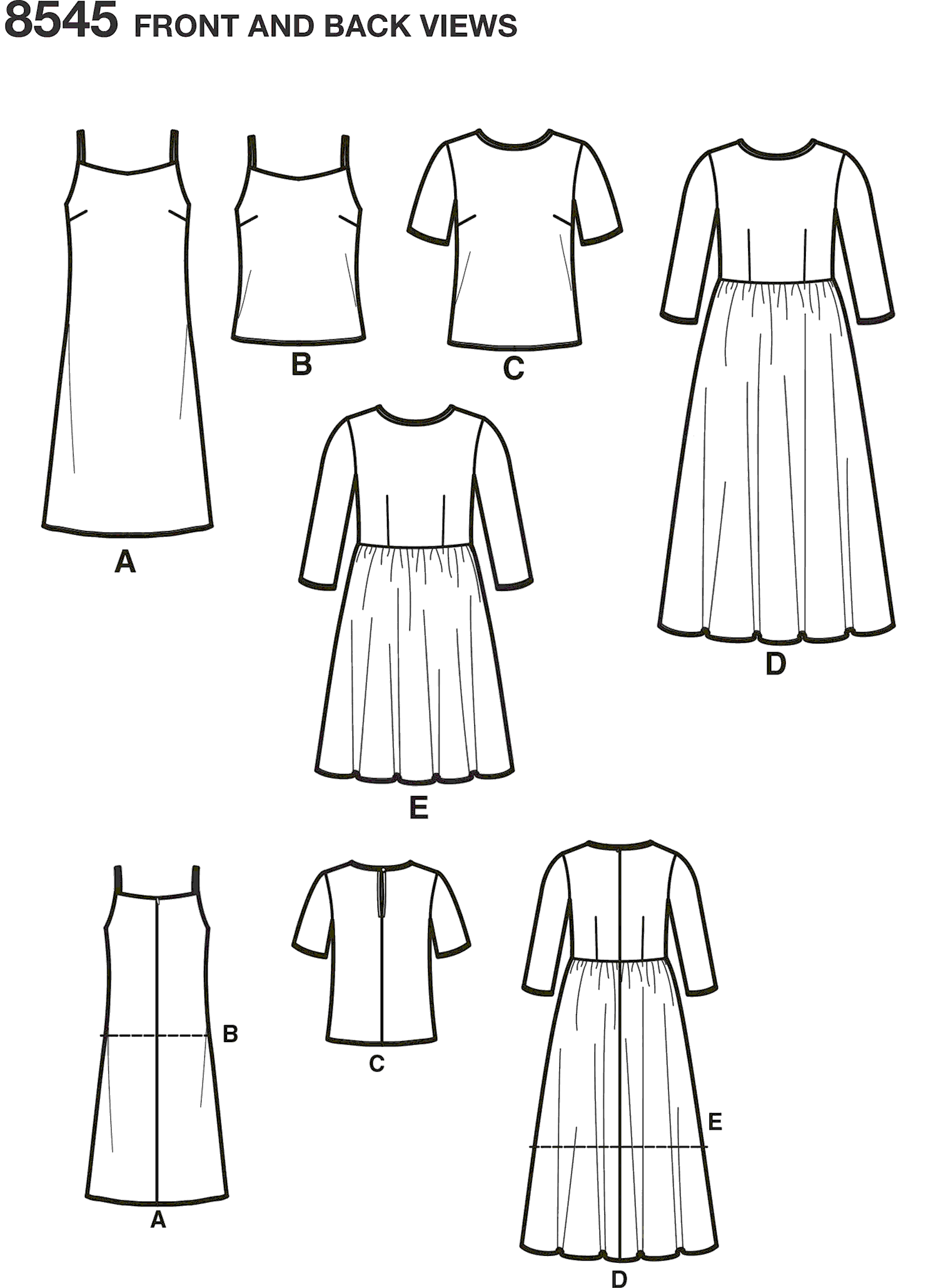 Simplicity Pattern 8545 Womens Petite Womens Dress and Top Line Art From Patternsandplains.com