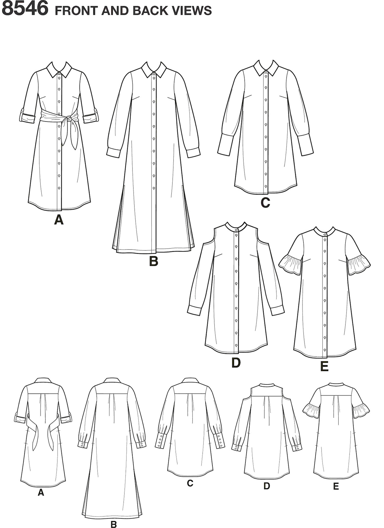 Simplicity Pattern 8546 Womens Petite Womens Shirt Dresses Line Art From Patternsandplains.com