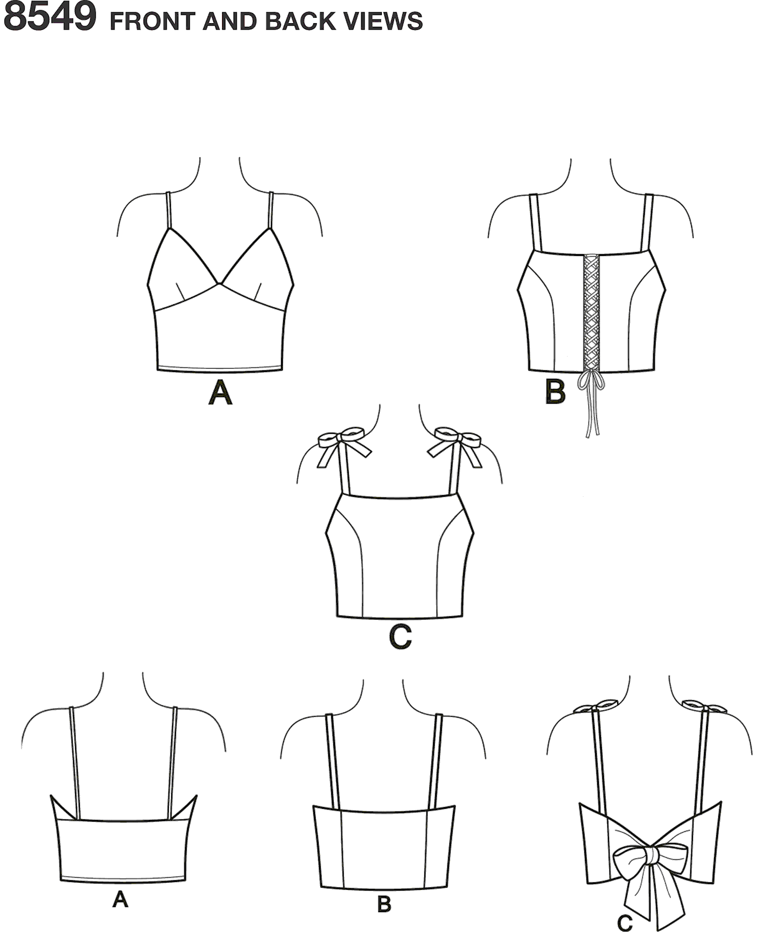 Simplicity Pattern 8549 Womens Bra Tops Line Art From Patternsandplains.com