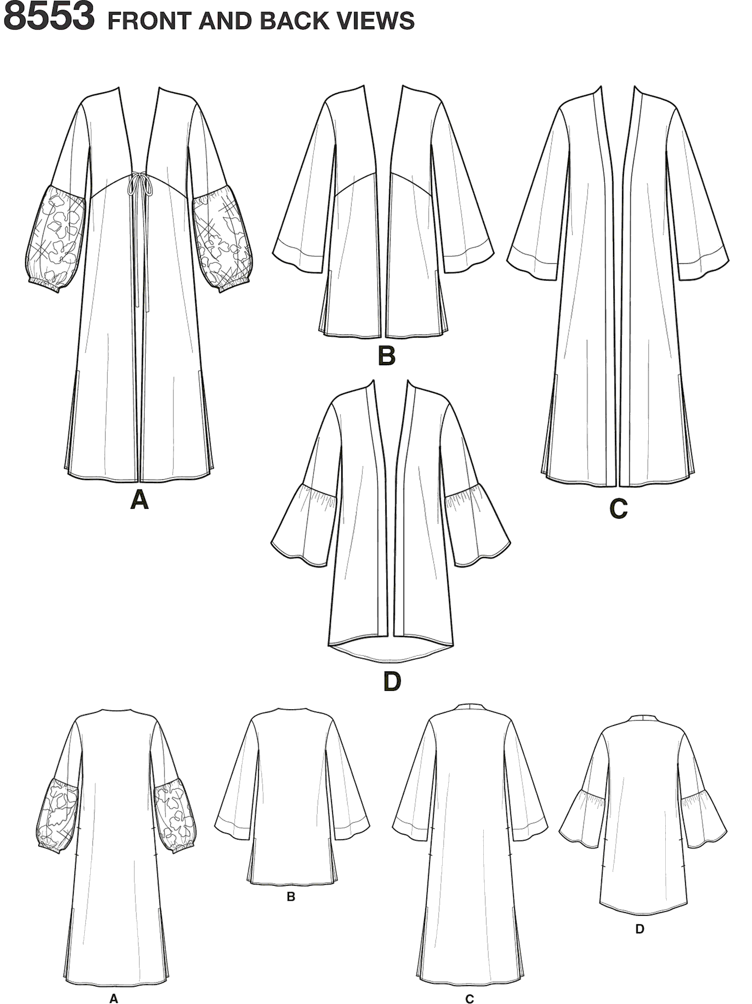Simplicity Pattern 8553 Womens Kimonos Line Art From Patternsandplains.com