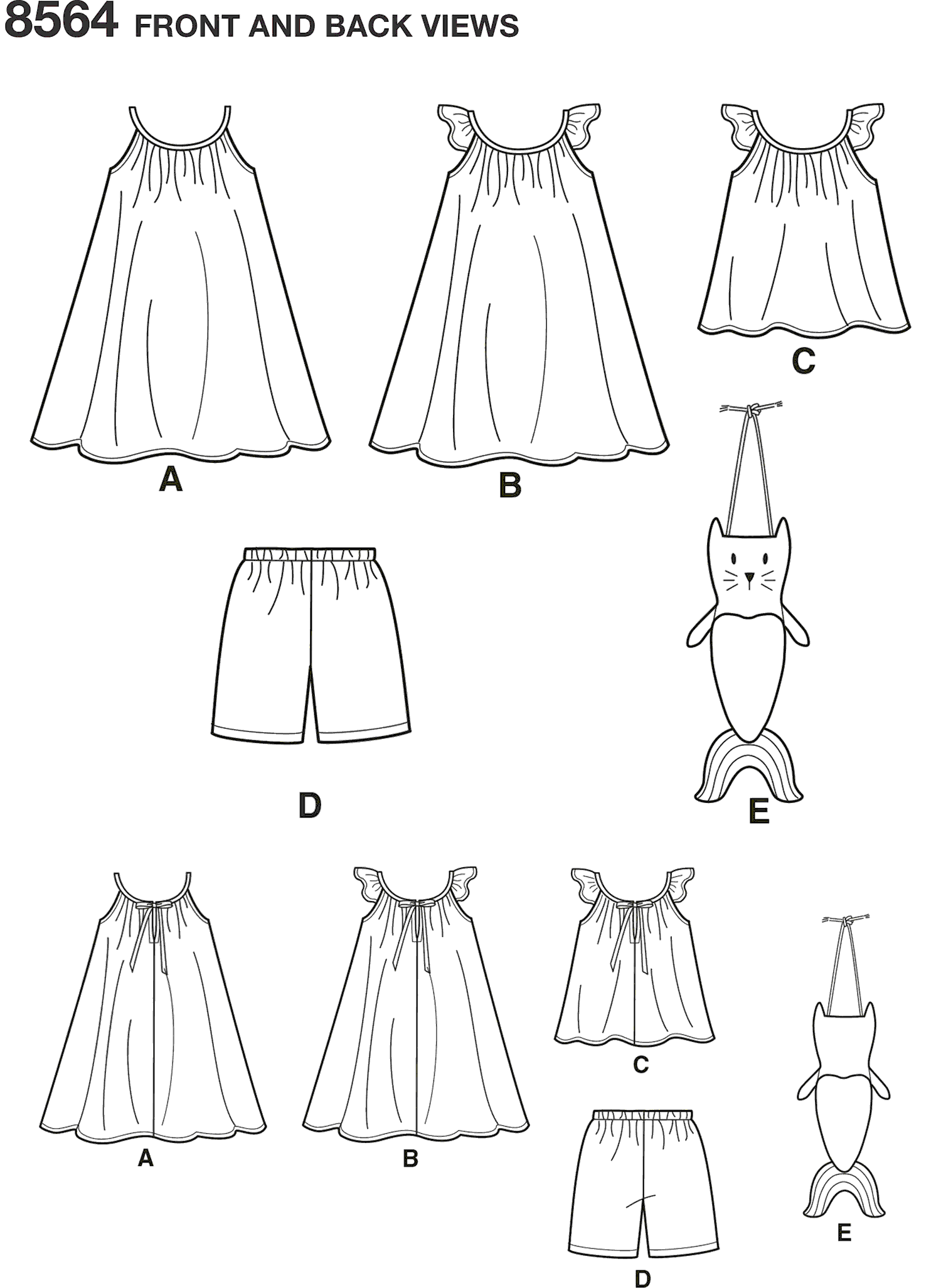 Simplicity Pattern 8564 Childs Dress Top Shorts and Bag Line Art From Patternsandplains.com