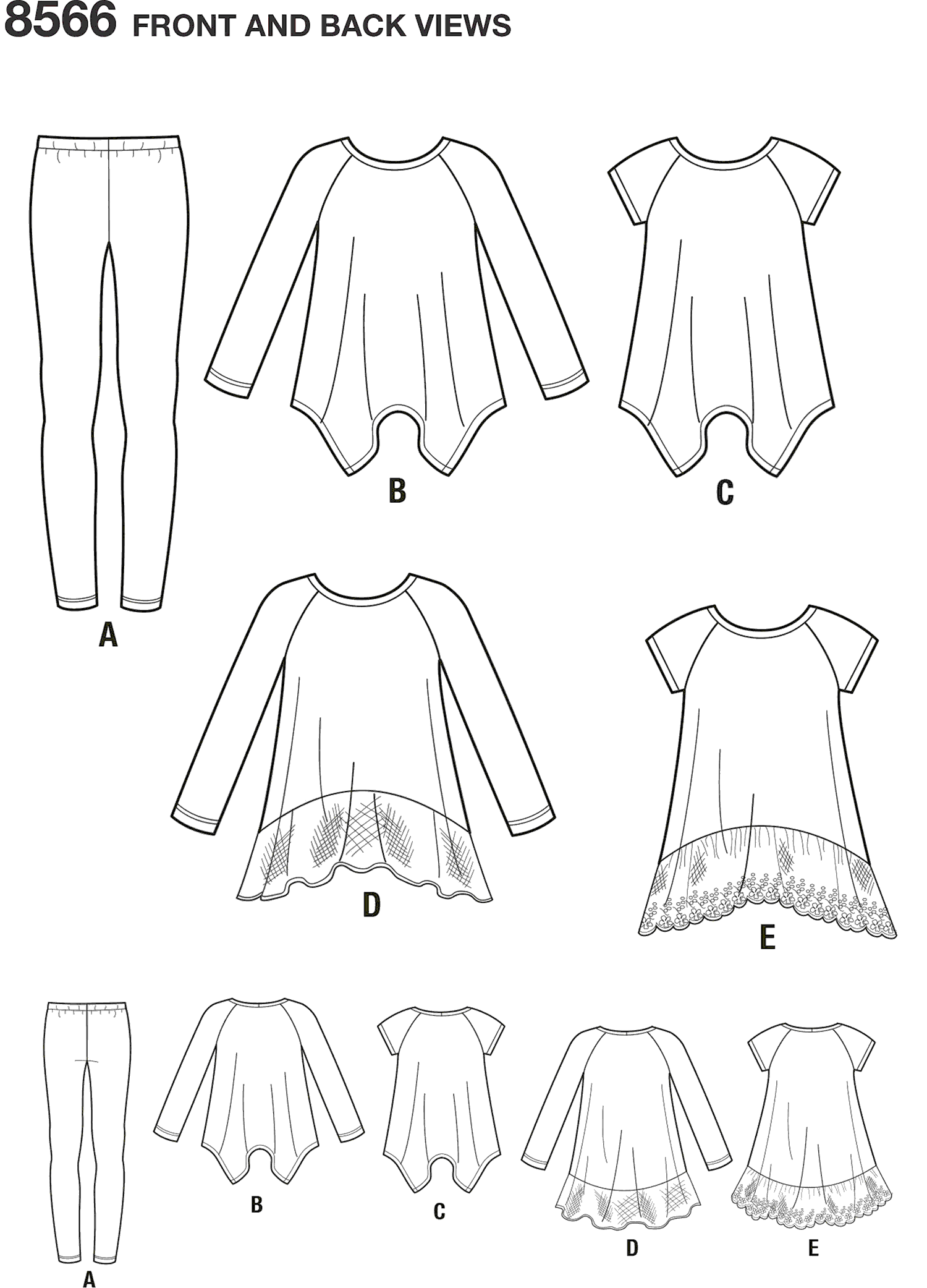 Simplicity Pattern 8566 Childs and Girls Tunics and Leggings Line Art From Patternsandplains.com