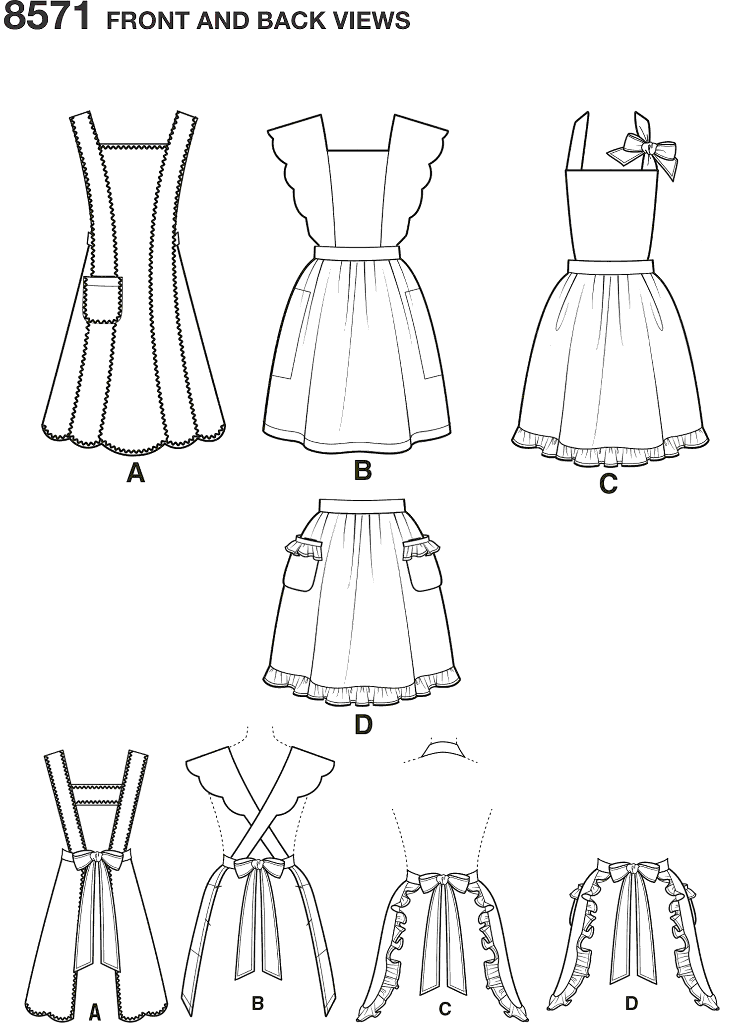Simplicity Pattern 8571 Womens Vintage Aprons Line Art From Patternsandplains.com