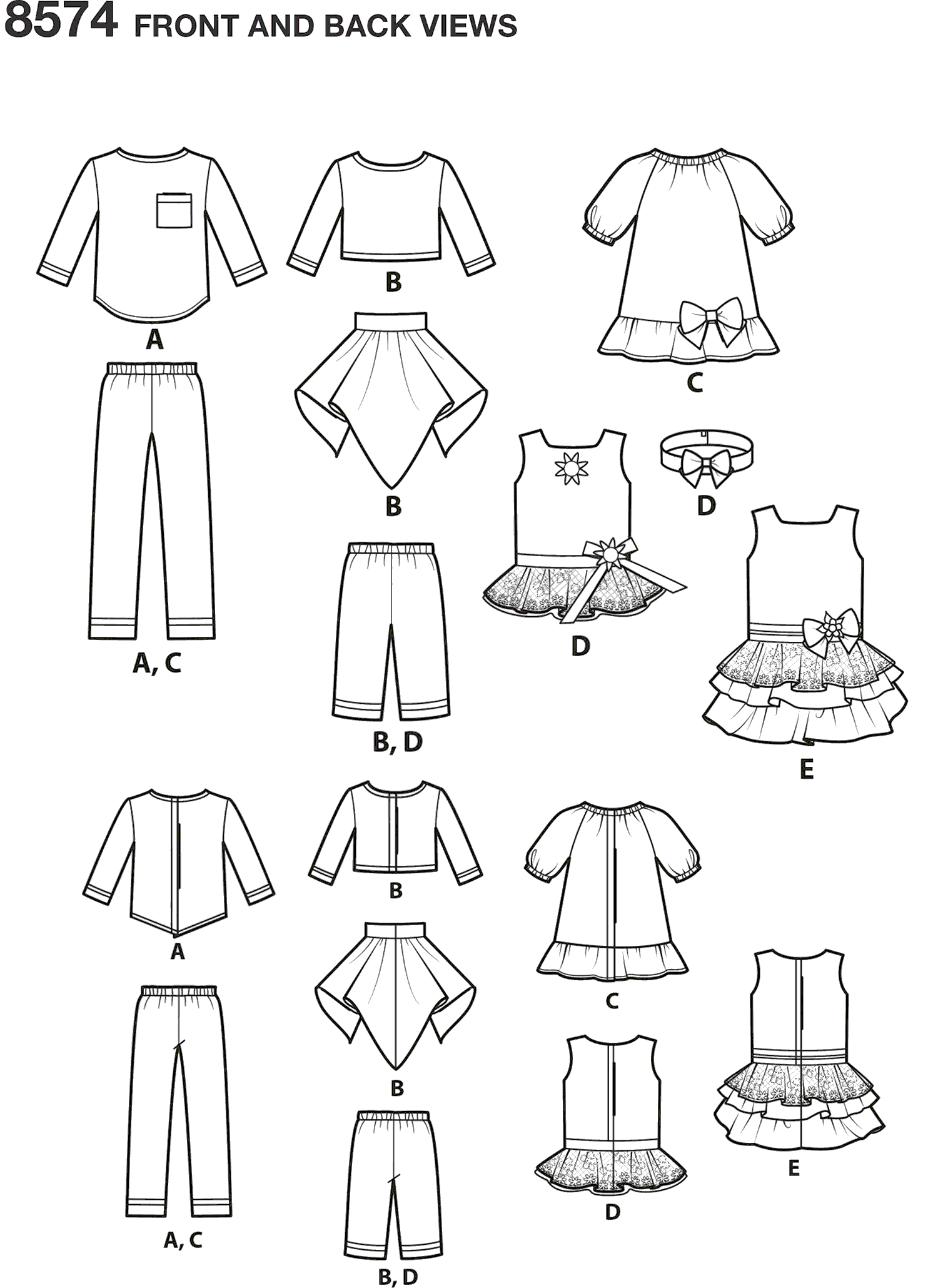 Simplicity Pattern 8574 14 Doll Clothes Line Art From Patternsandplains.com