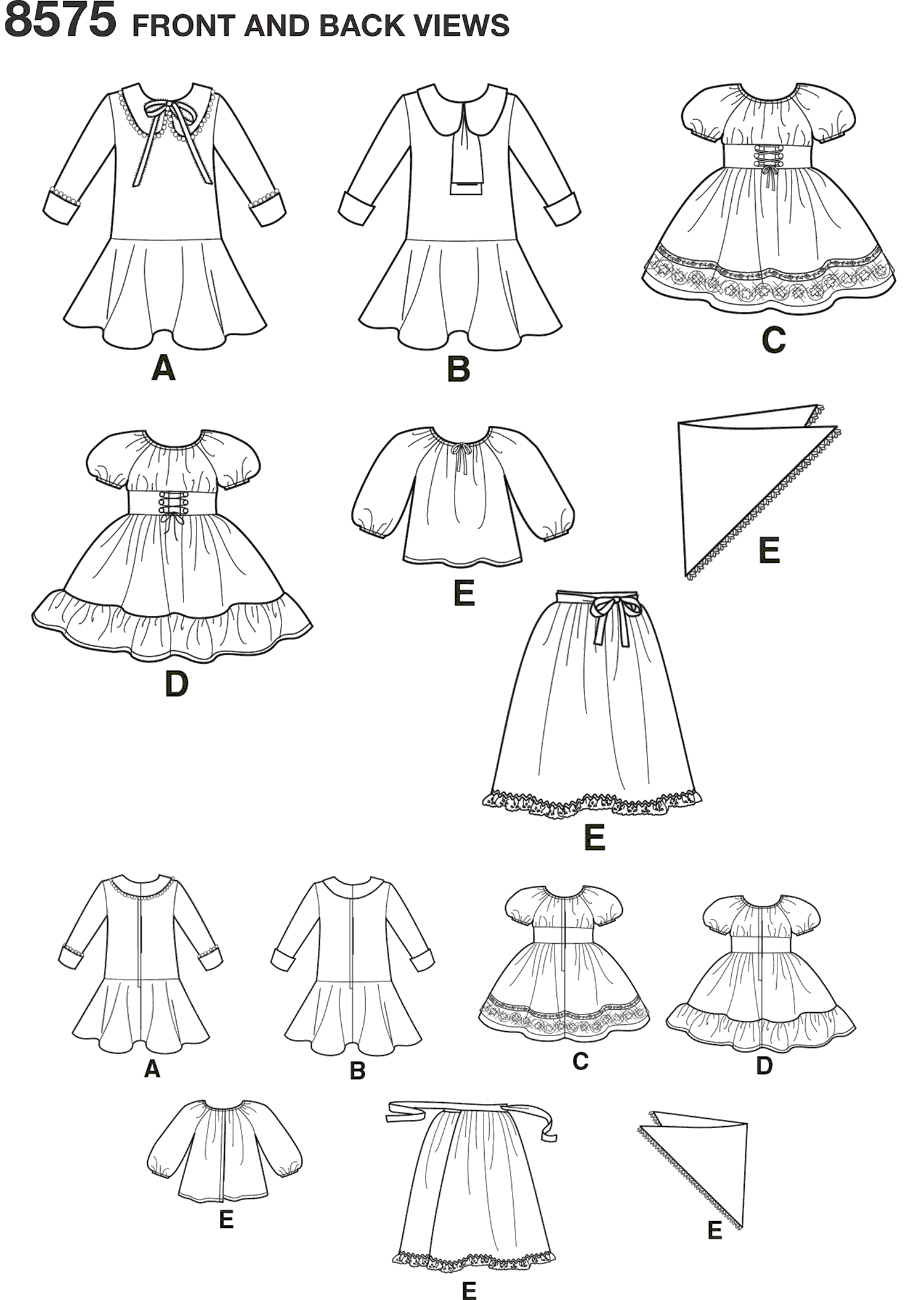 Simplicity Pattern 8575 18 Doll Clothes Line Art From Patternsandplains.com