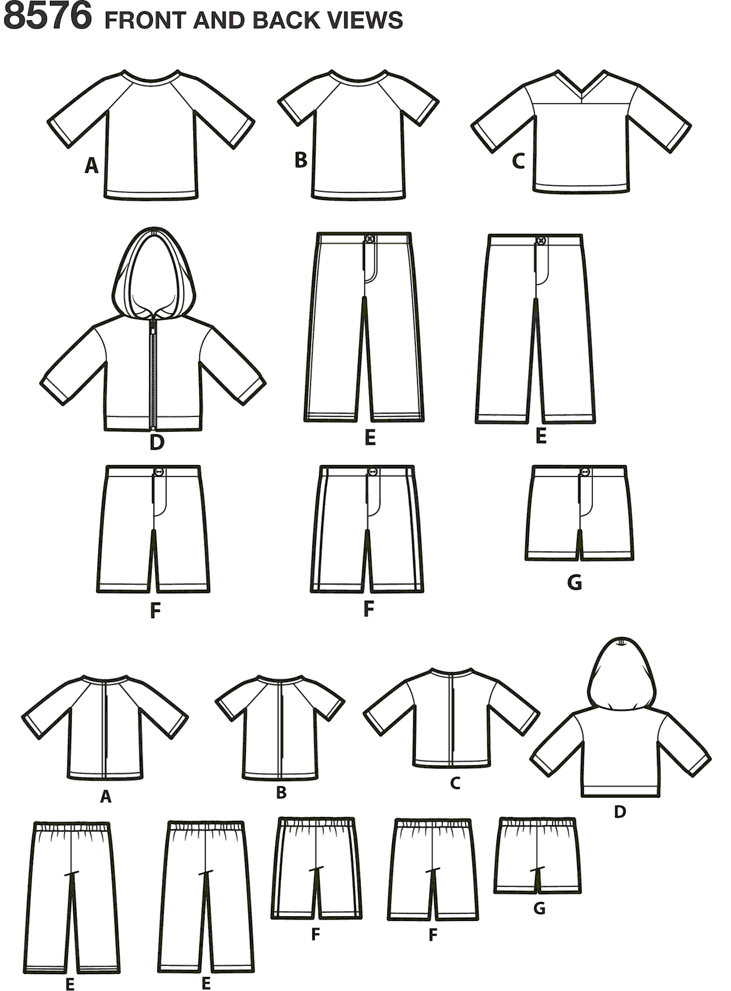 Simplicity Pattern 8576 Unisex Doll Clothes Line Art From Patternsandplains.com