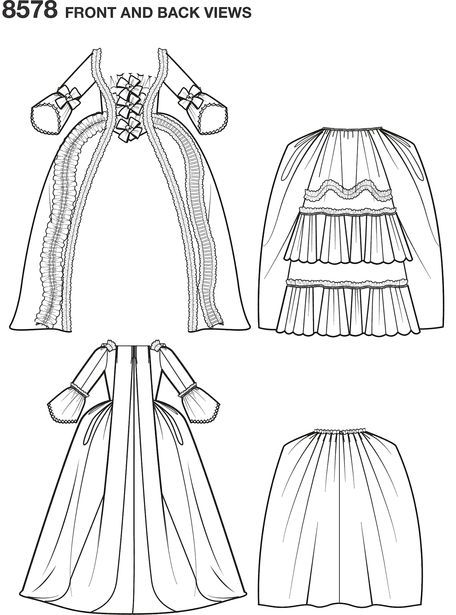 Simplicity Pattern 8578  Womens 18th Century Gown Line Art From Patternsandplains.com