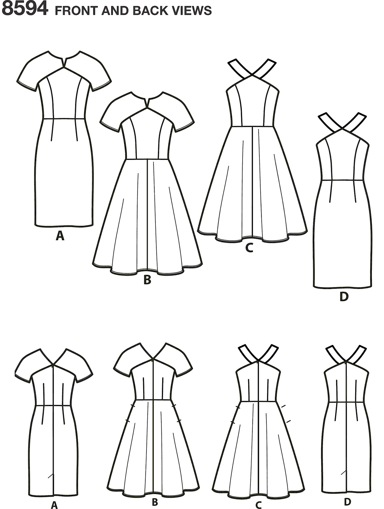 Simplicity Pattern 8594 Womens Petite Womens Dresses Line Art From Patternsandplains.com