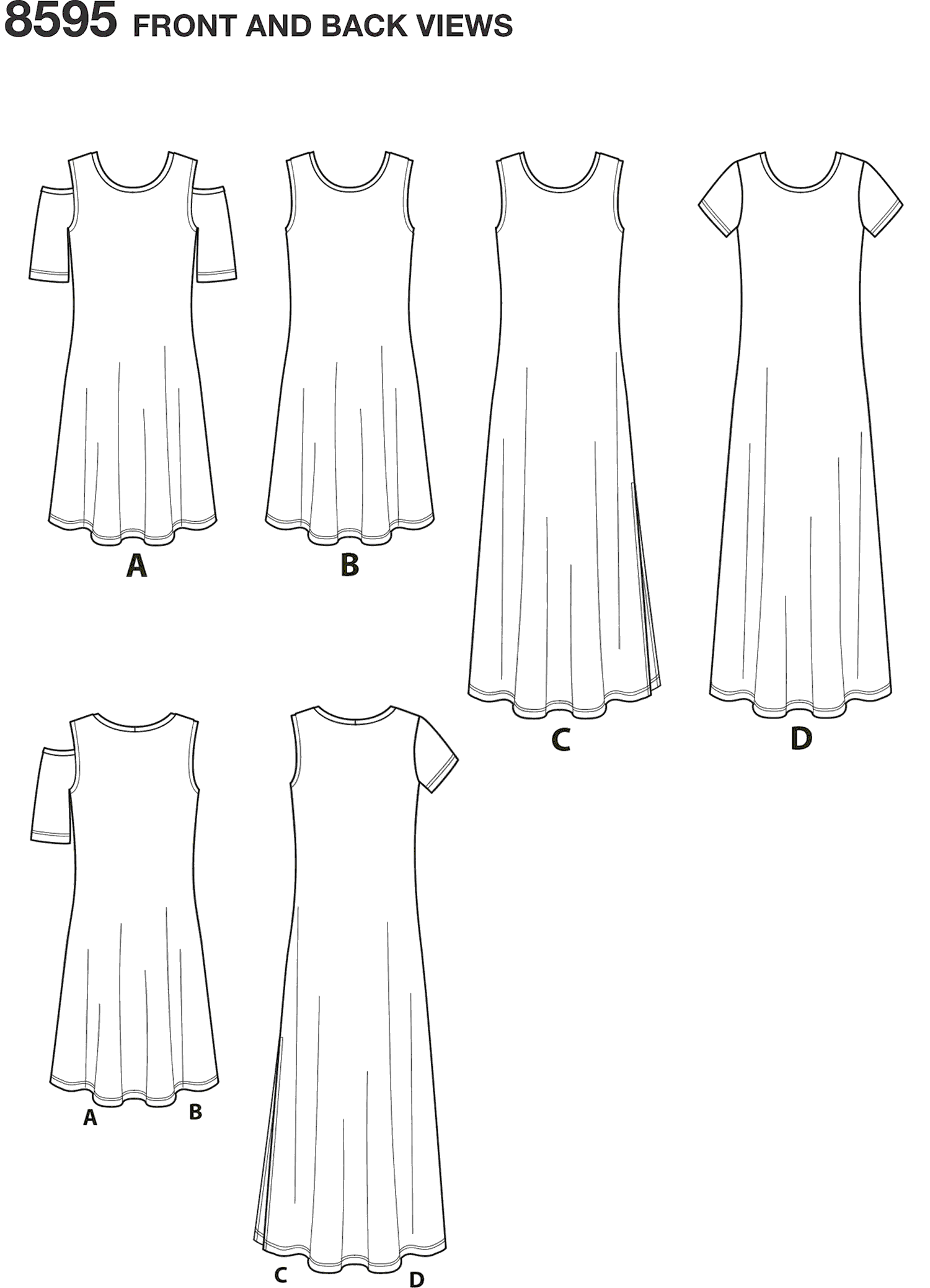 Simplicity Pattern 8595 Womens Knit Dresses Line Art From Patternsandplains.com