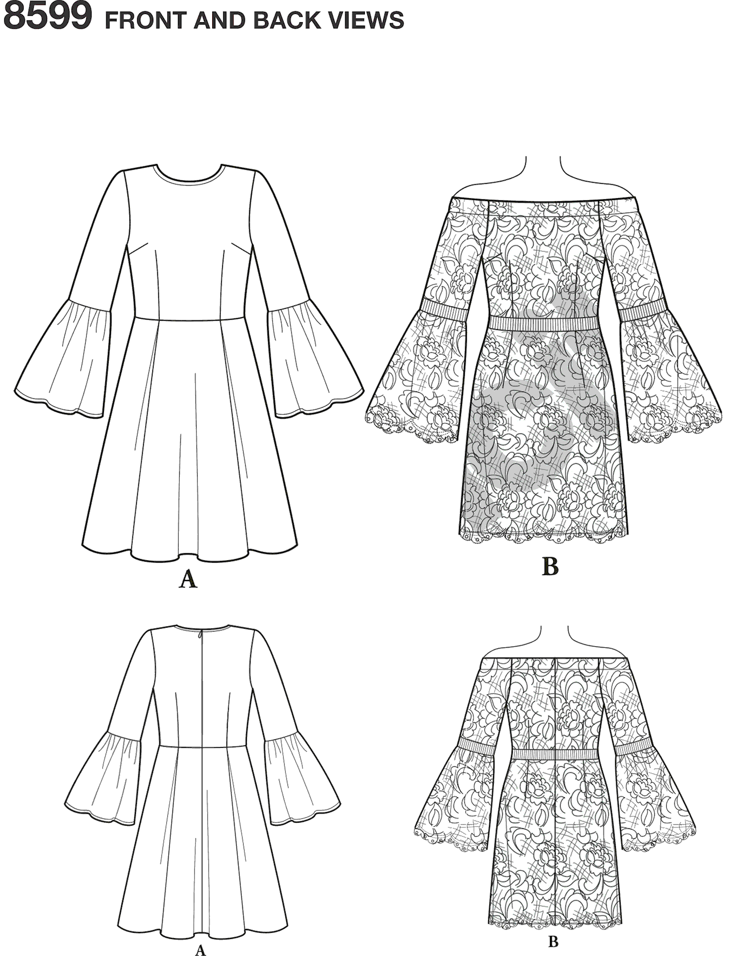 Simplicity Pattern 8599 Womens Petite Womens Cynthia Rowley Dresses Line Art From Patternsandplains.com