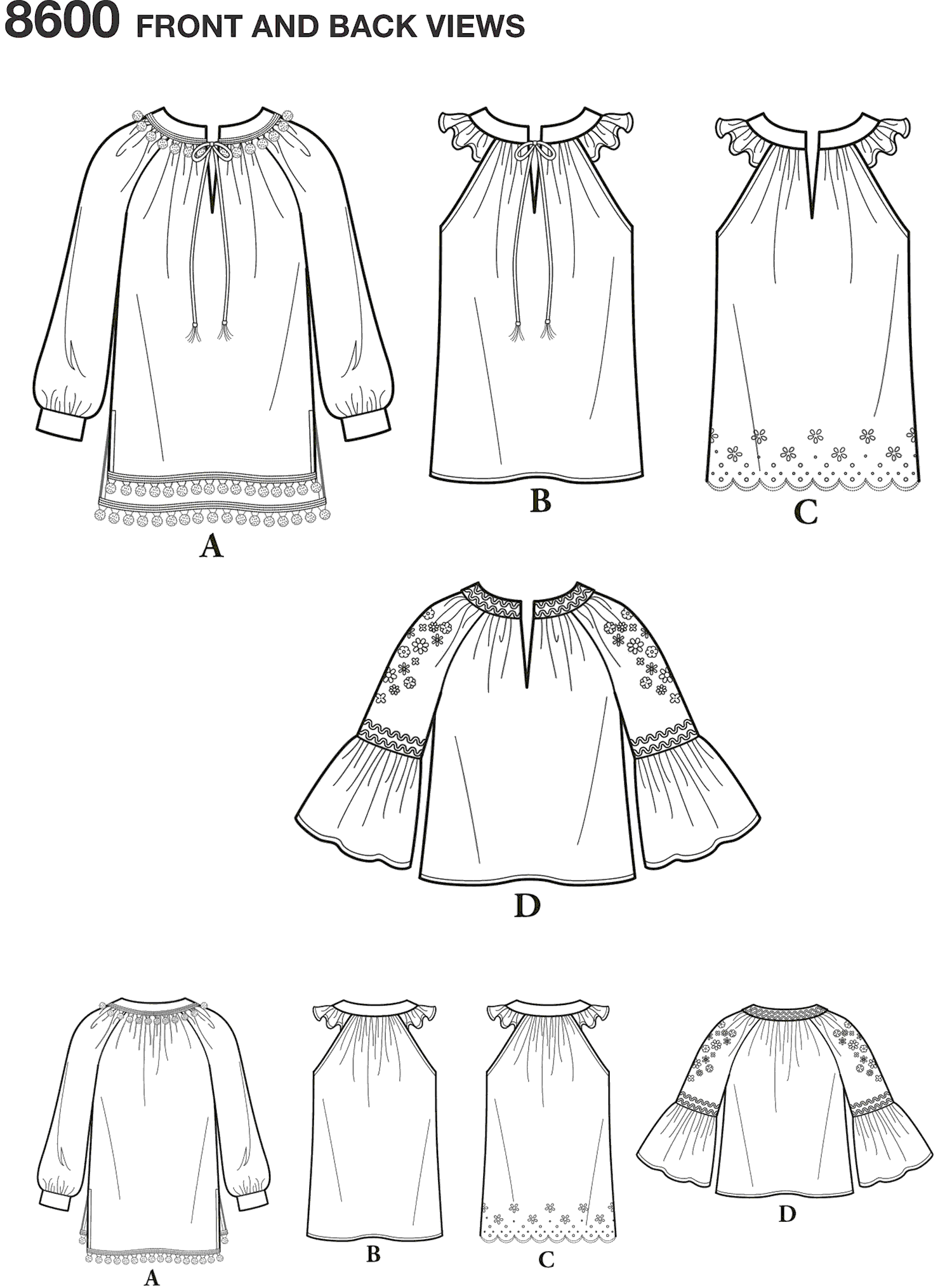 Simplicity Pattern 8600 Womens Pullover Top Line Art From Patternsandplains.com