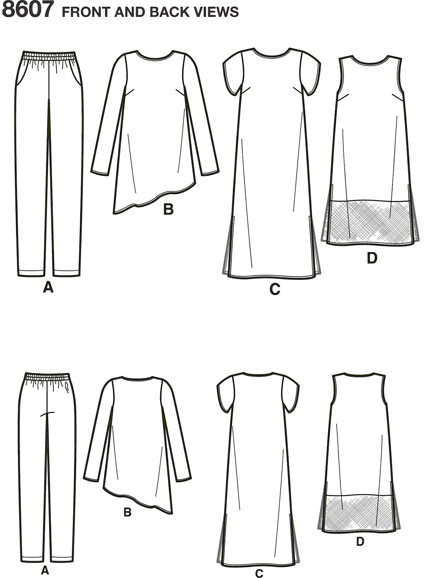 Simplicity Pattern 8607  Womens Easy to Sew Sportswear Line Art From Patternsandplains.com