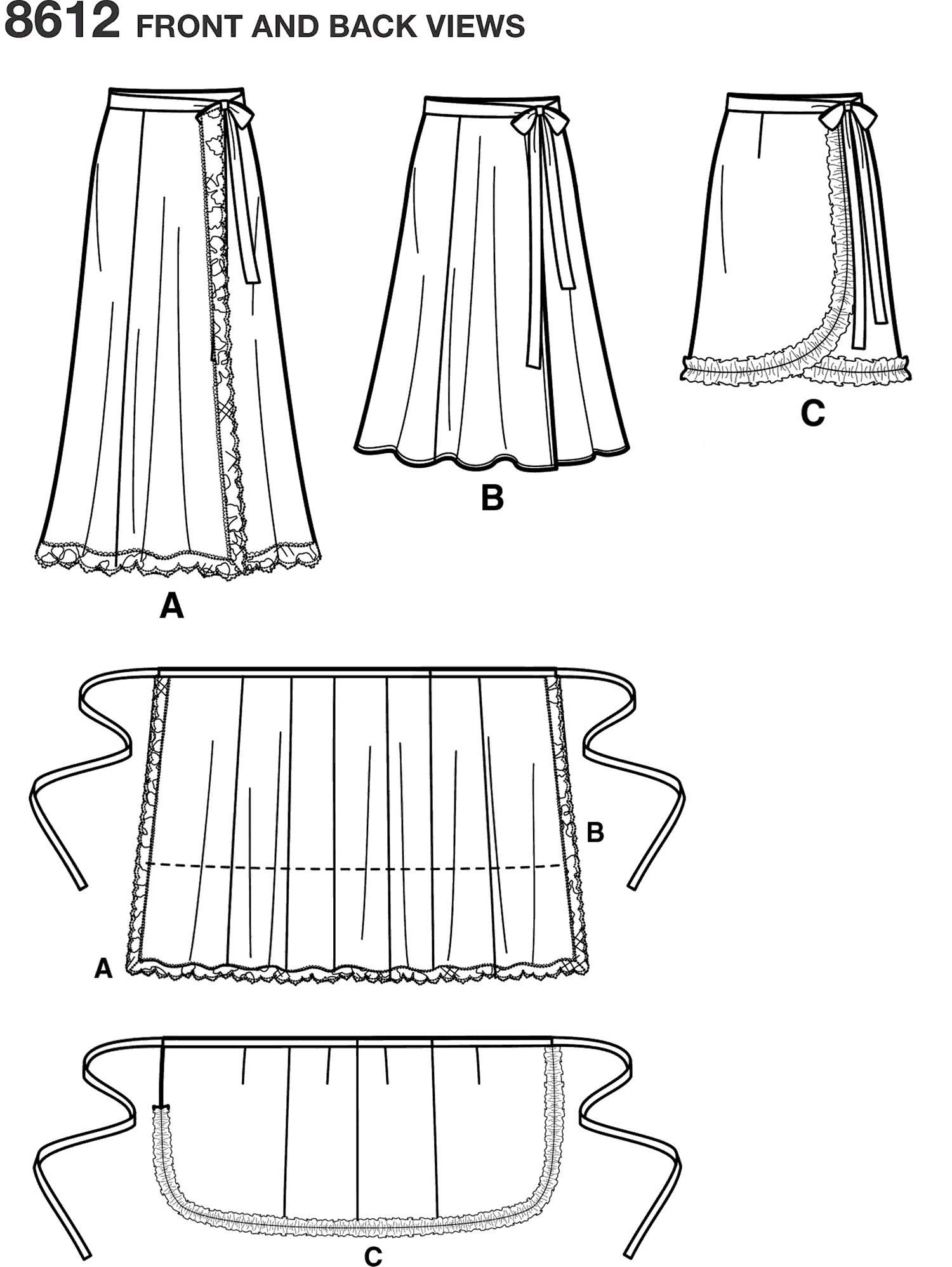 Simplicity Pattern 8612 Womens Easy Wrap Skirts by Ashley Nell Tiption Line Art From Patternsandplains.com
