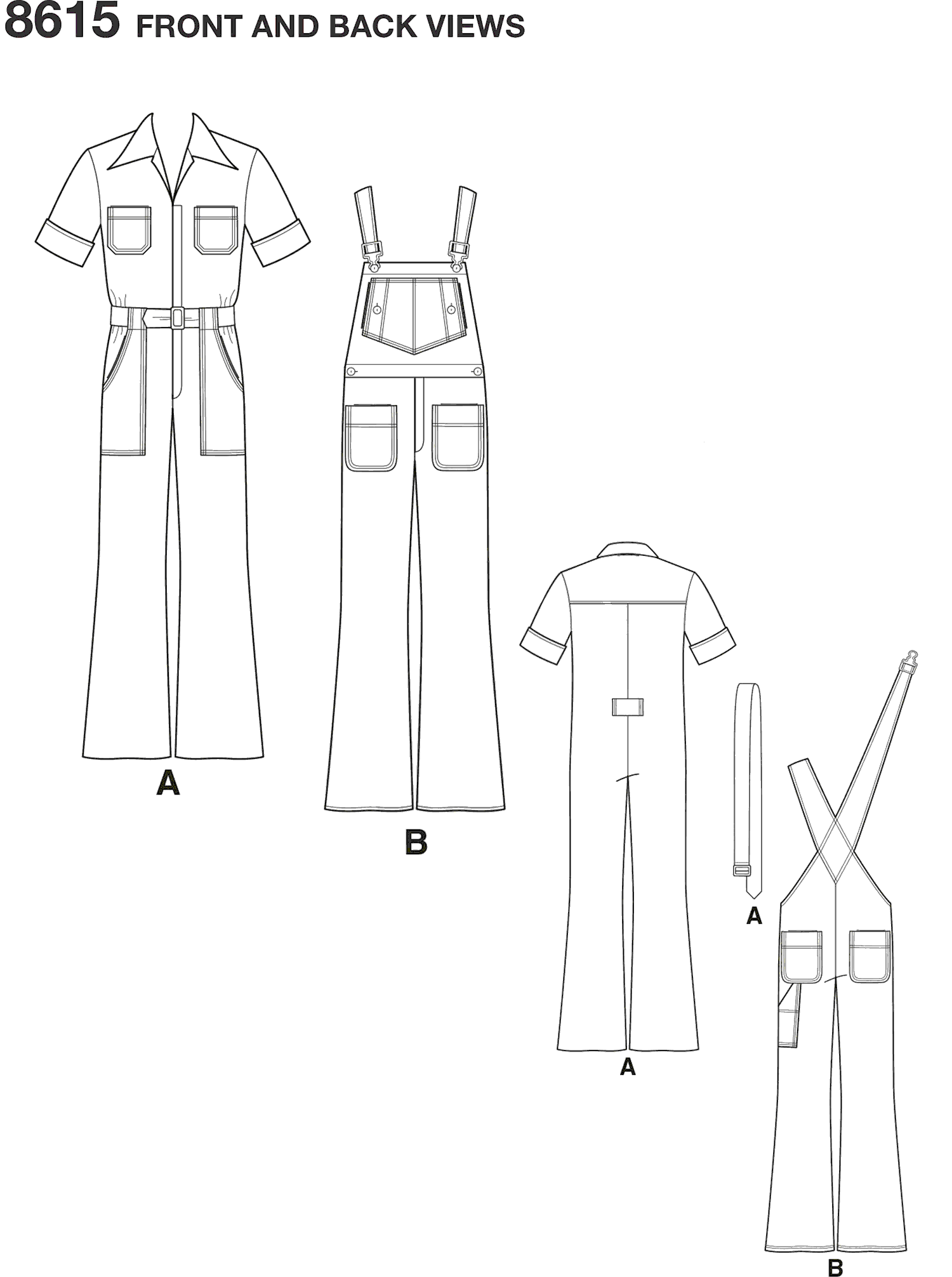Simplicity Pattern 8615 Mens Vintage Jumpsuit and Overalls Line Art From Patternsandplains.com