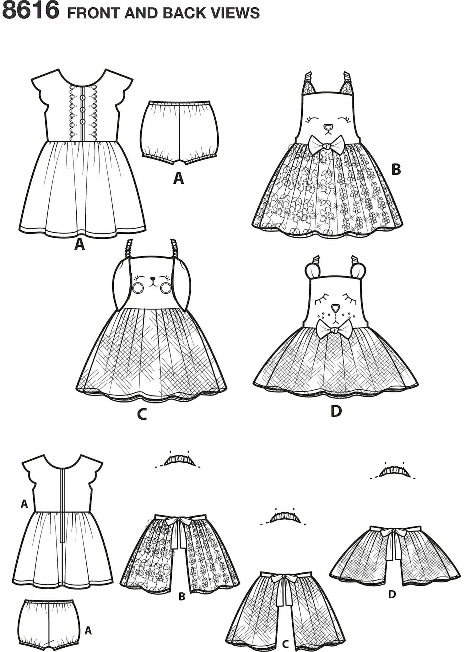 Simplicity Pattern 8616 Toddlers Dress and Apron Tutu Line Art From Patternsandplains.com
