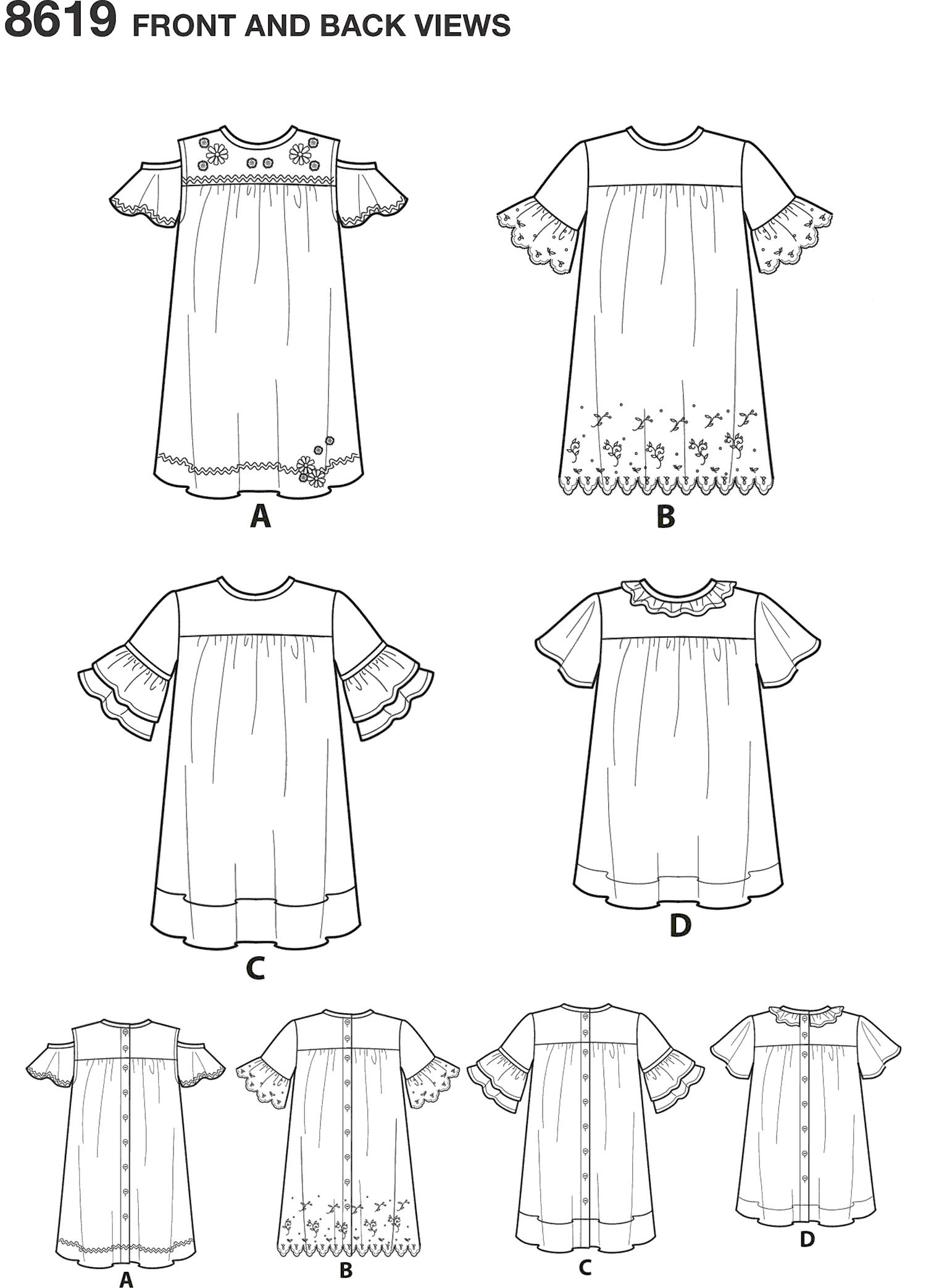 Simplicity Pattern 8619 Childs Easy to Sew Dresses Line Art From Patternsandplains.com