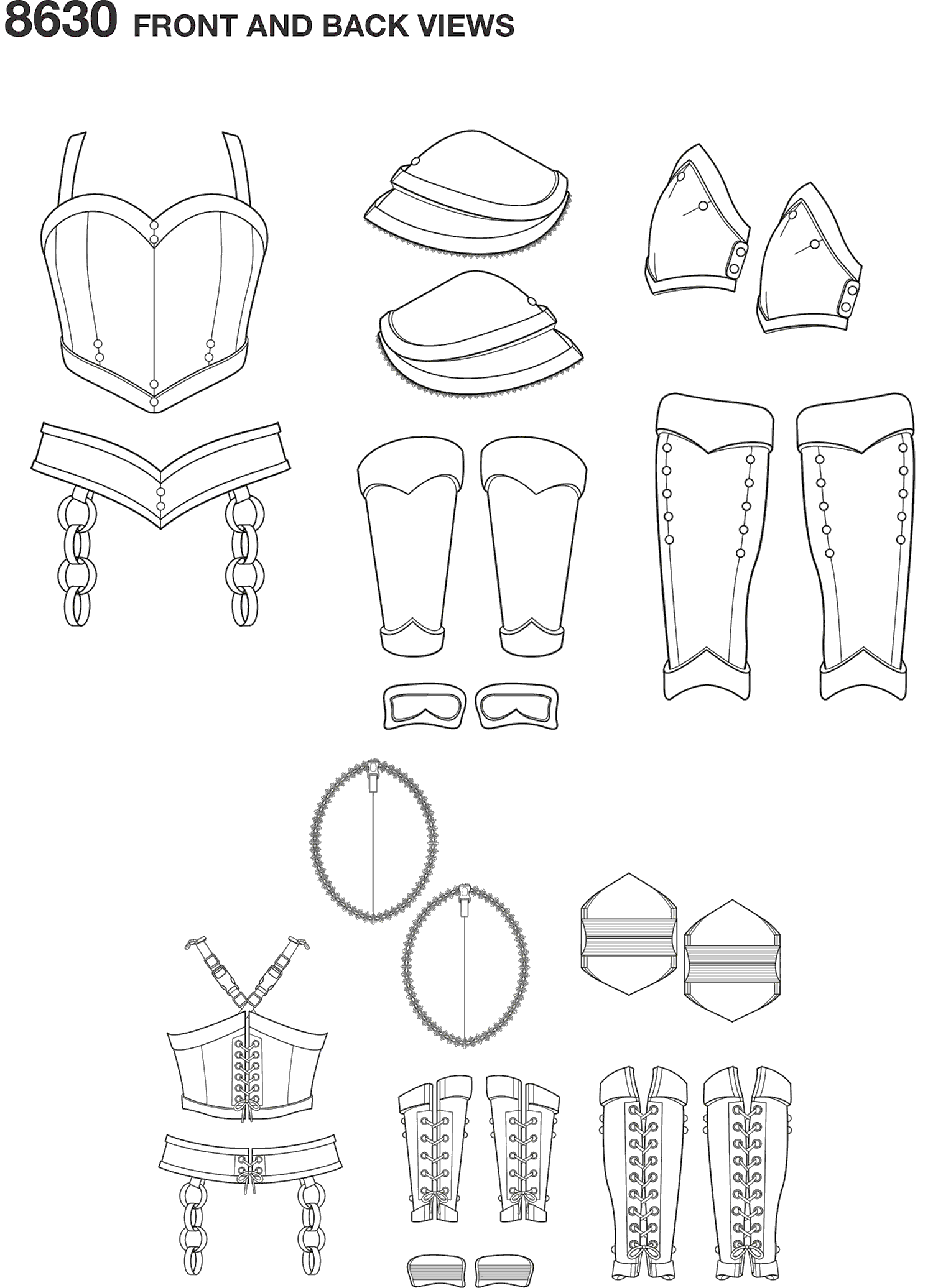 Simplicity Pattern 8630 Womens Cosplay Armor Line Art From Patternsandplains.com