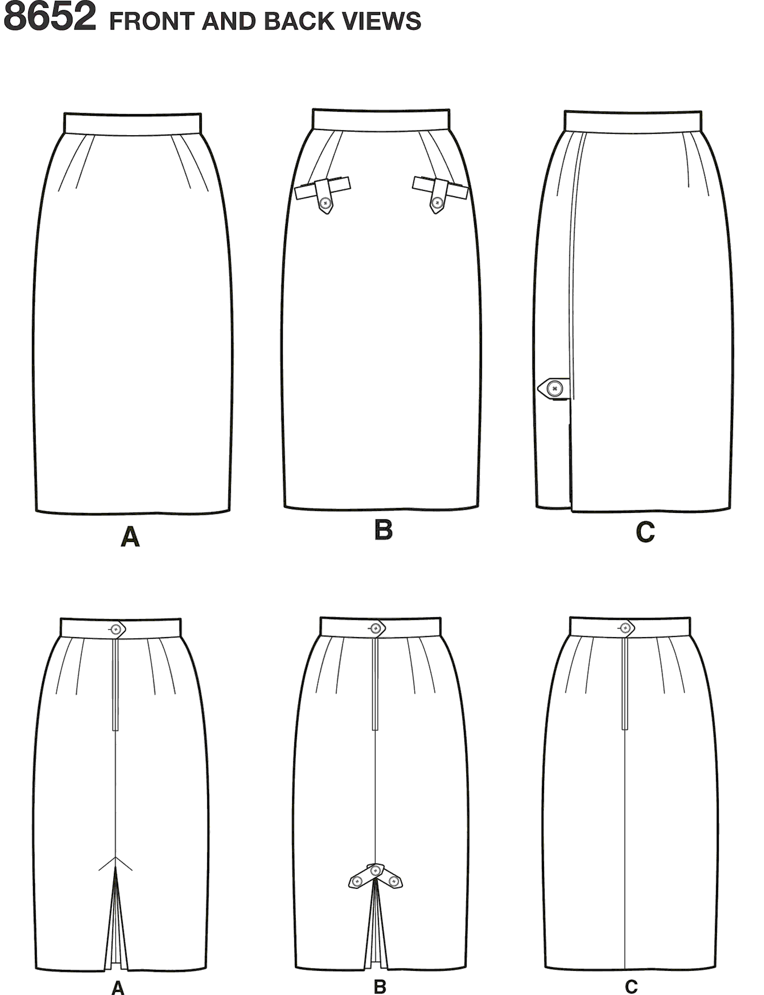 Simplicity Pattern 8652 Womens Skirts Line Art From Patternsandplains.com