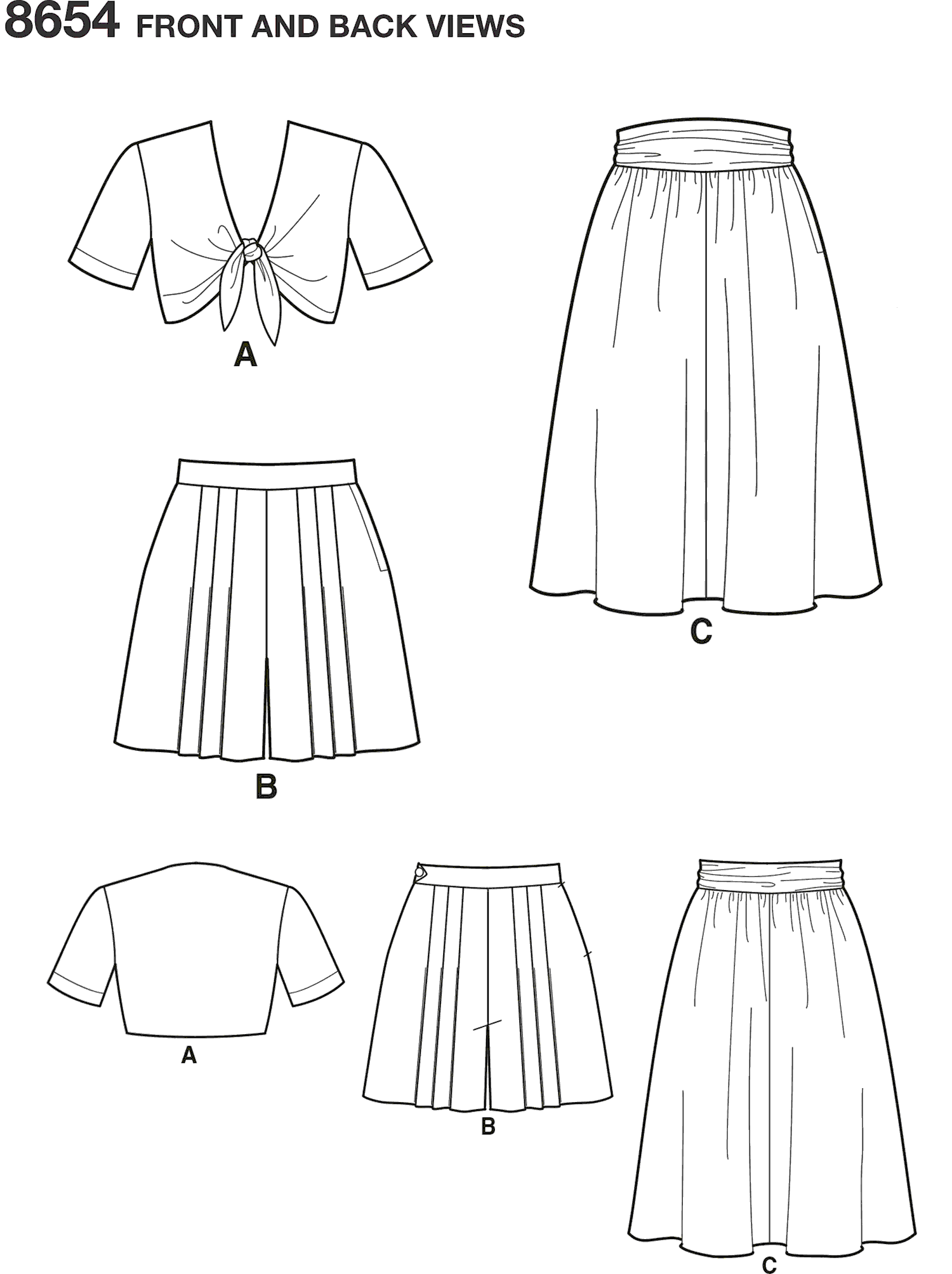 Simplicity Pattern 8654 Womens Vintage Skirt Shorts and Tie Top Line Art From Patternsandplains.com
