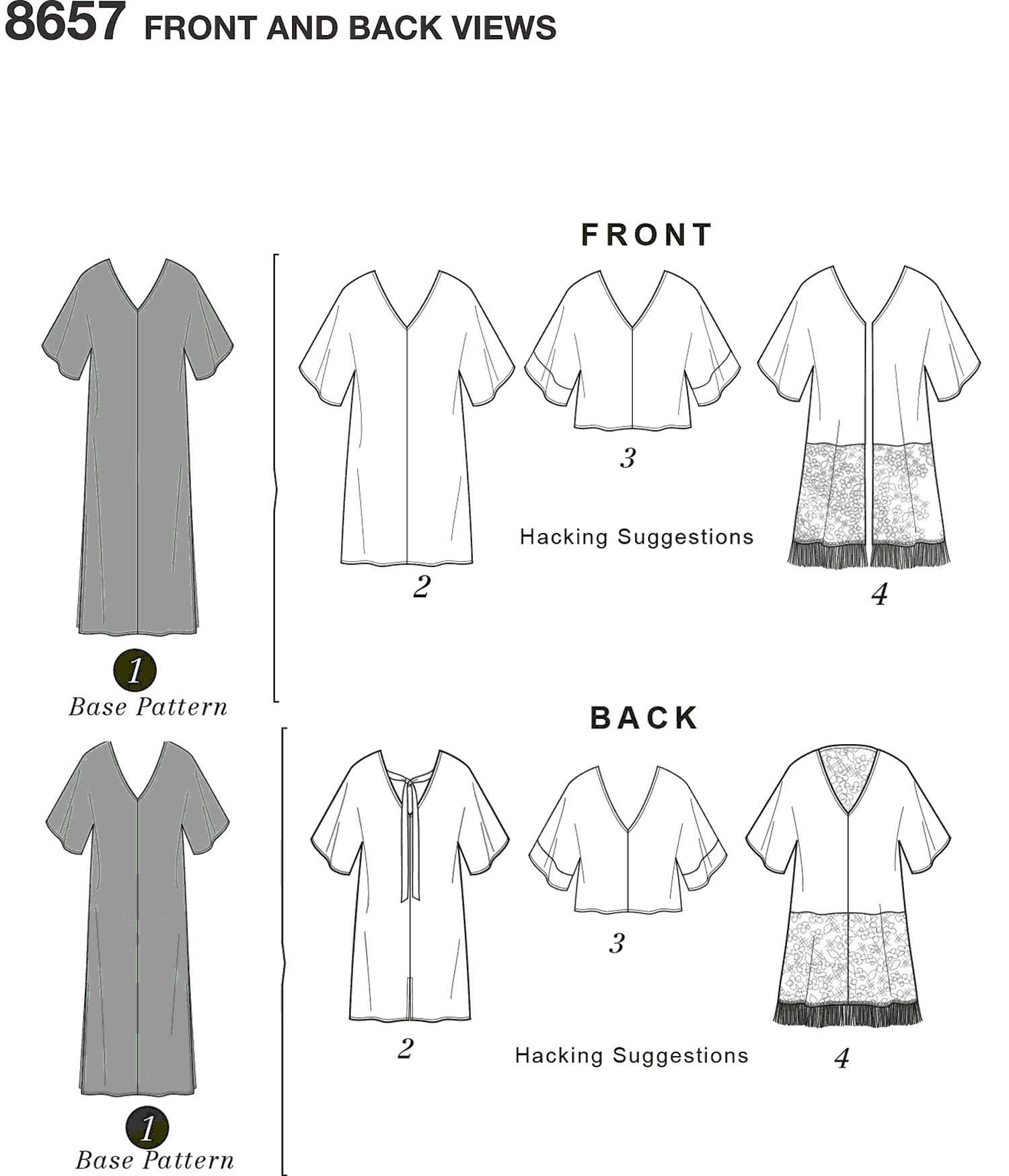 Simplicity Pattern 8657 Womens Caftan with Options for Design Hacking Line Art From Patternsandplains.com
