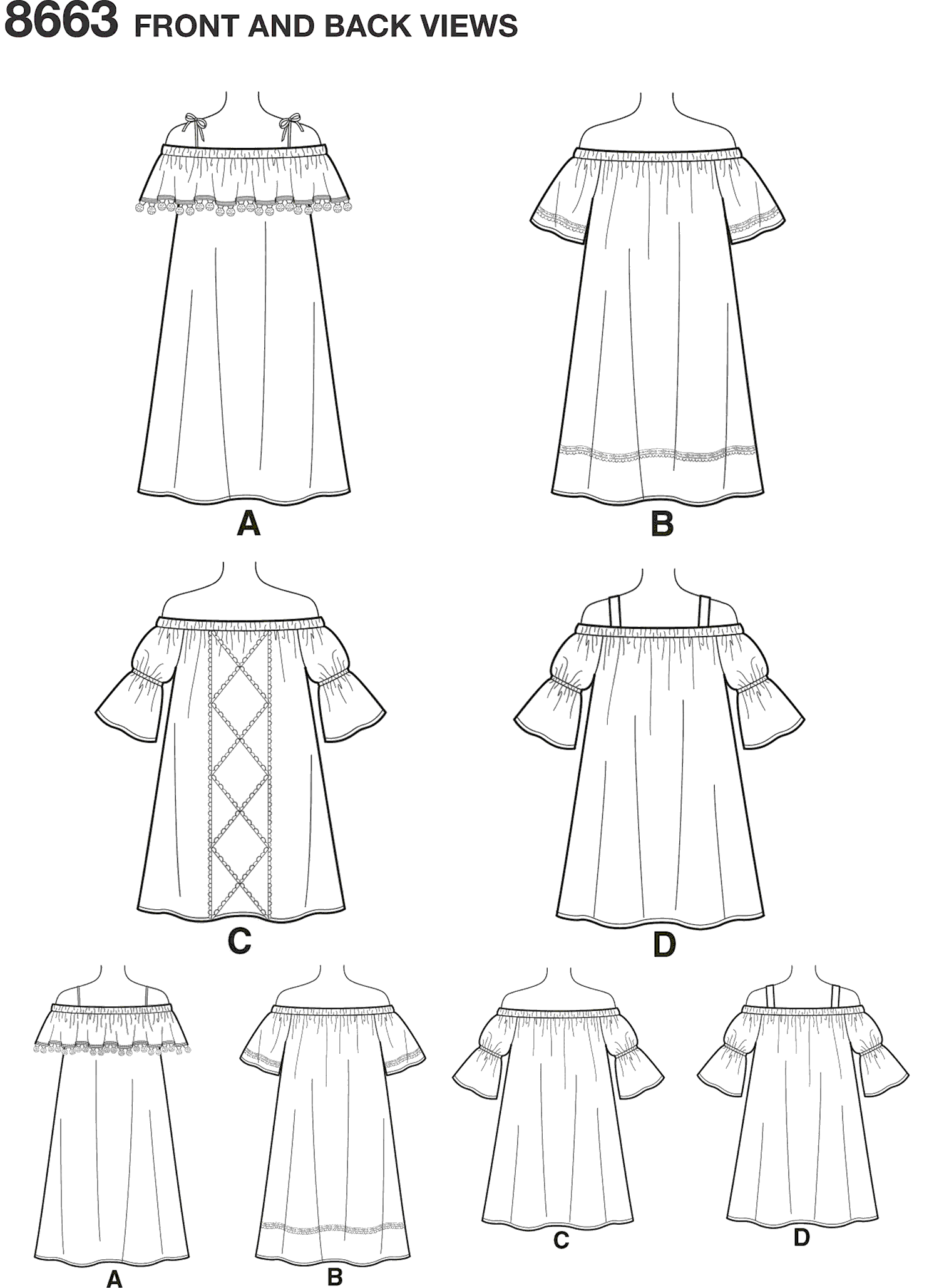 Simplicity Pattern 8663 Childs and Girls Dress Line Art From Patternsandplains.com