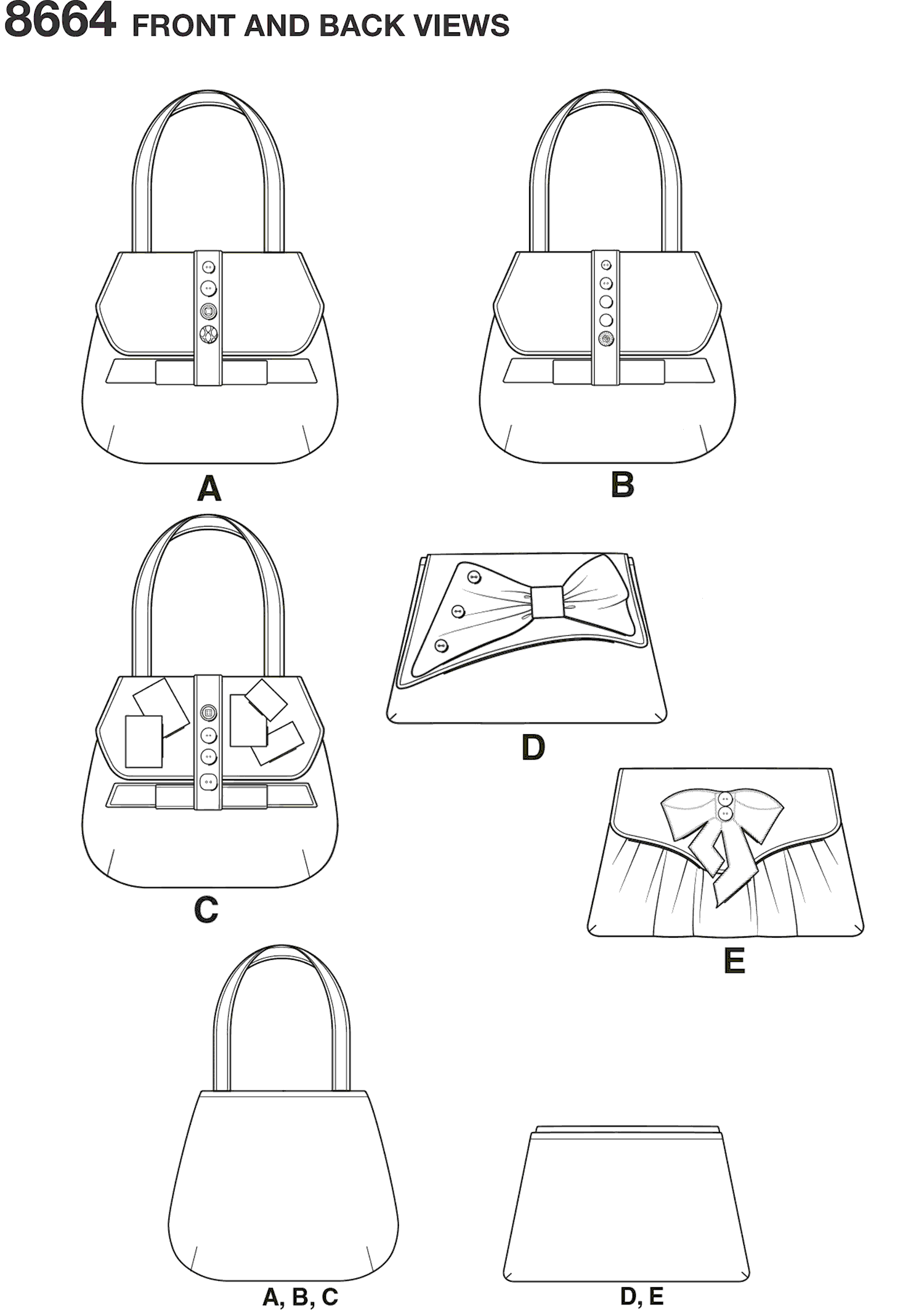 Simplicity Pattern 8664 Bags in Four Styles Line Art From Patternsandplains.com