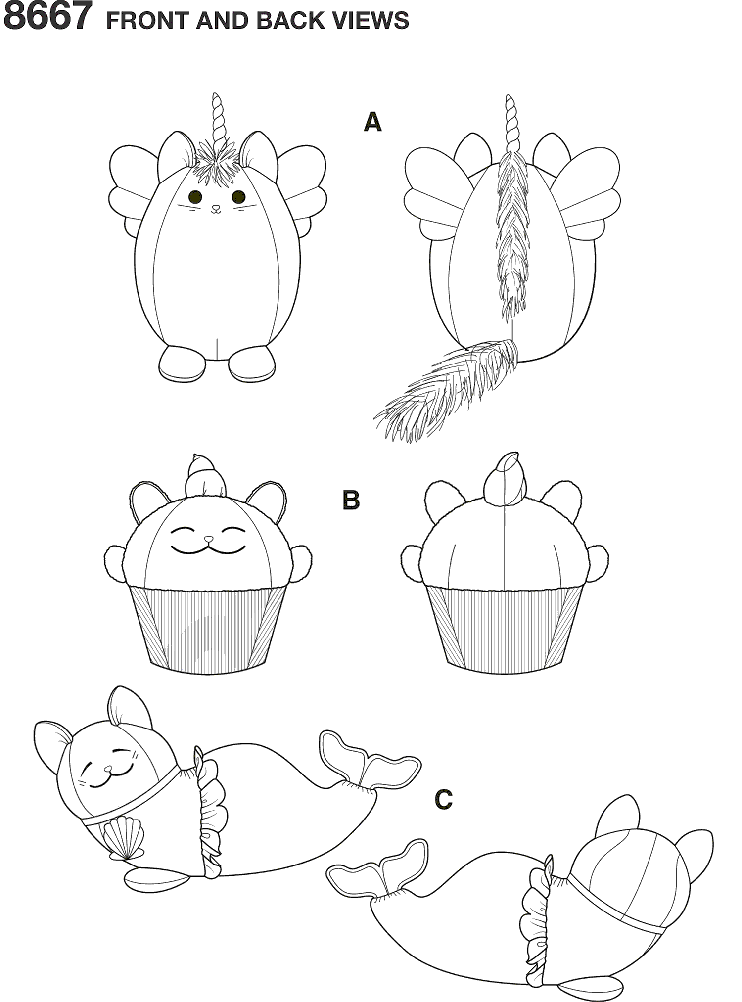 Simplicity Pattern 8667 Stuffed Kitties Line Art From Patternsandplains.com