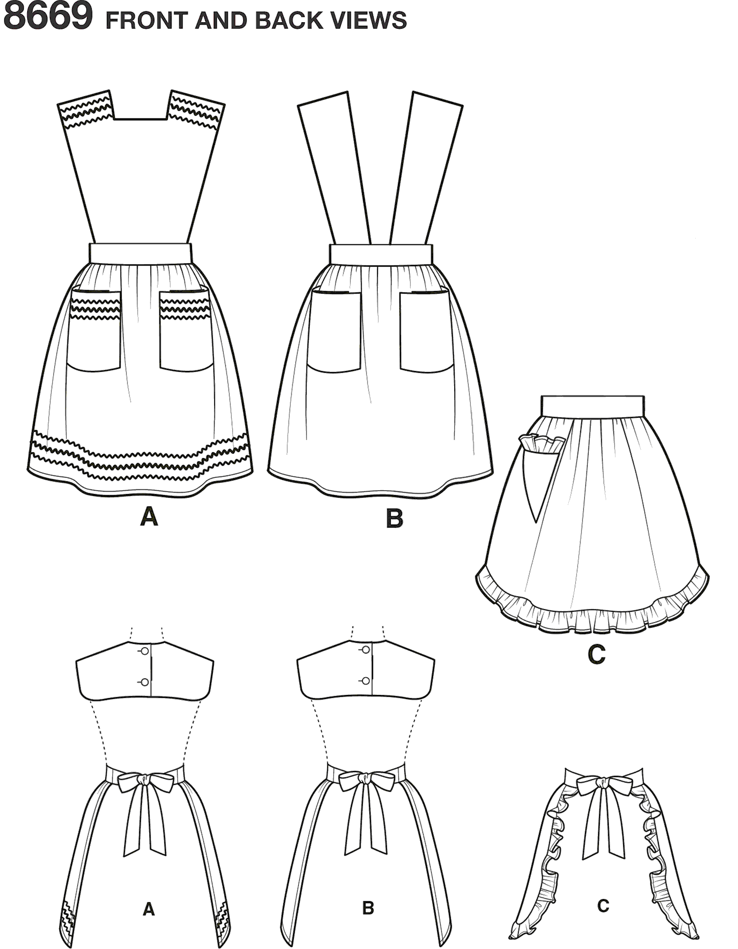 Simplicity Pattern 8669 Womens Vintage Aprons Line Art From Patternsandplains.com