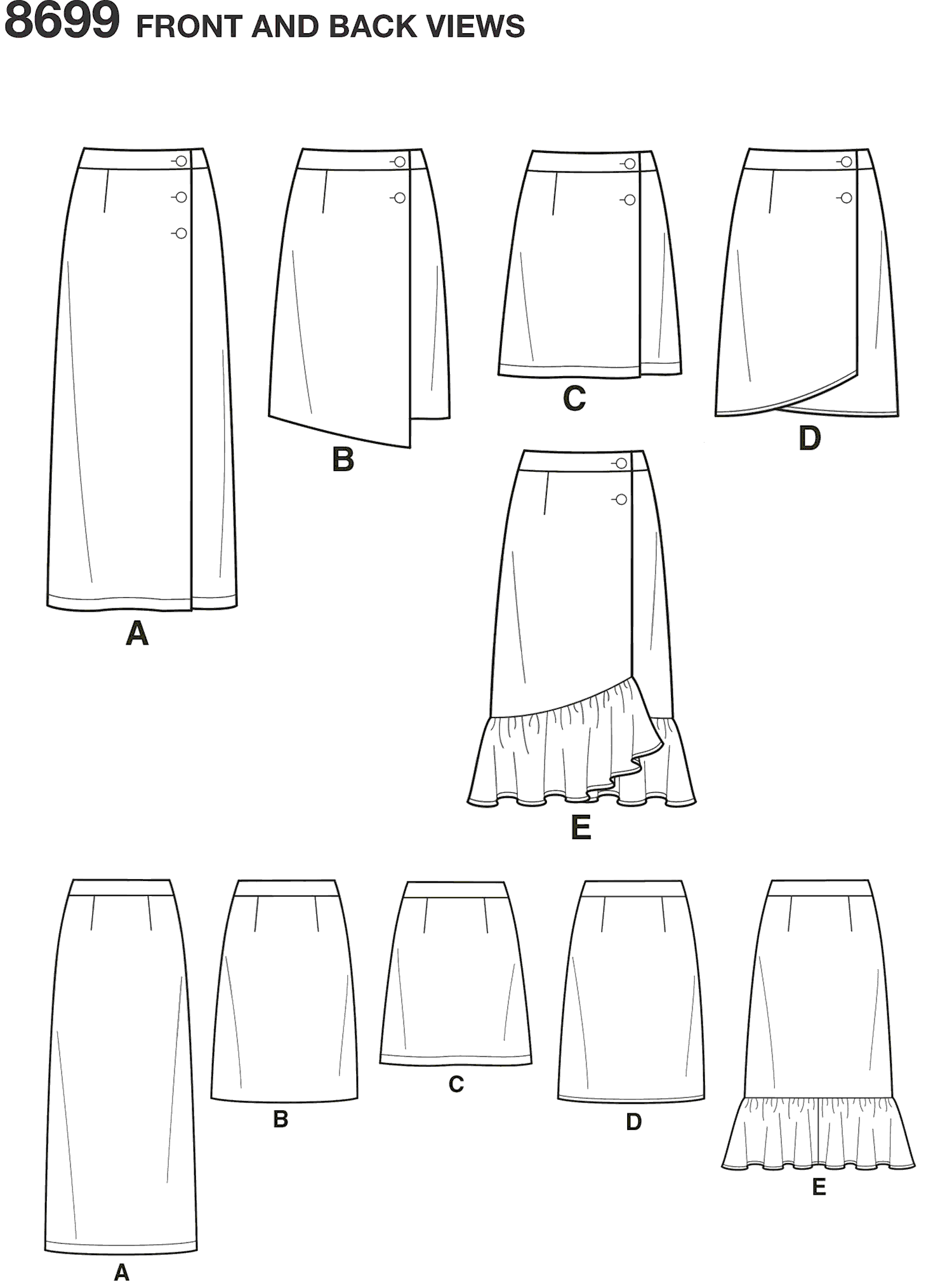 Simplicity Pattern 8699 Womens Wrap Skirts with Length Variations Line Art From Patternsandplains.com