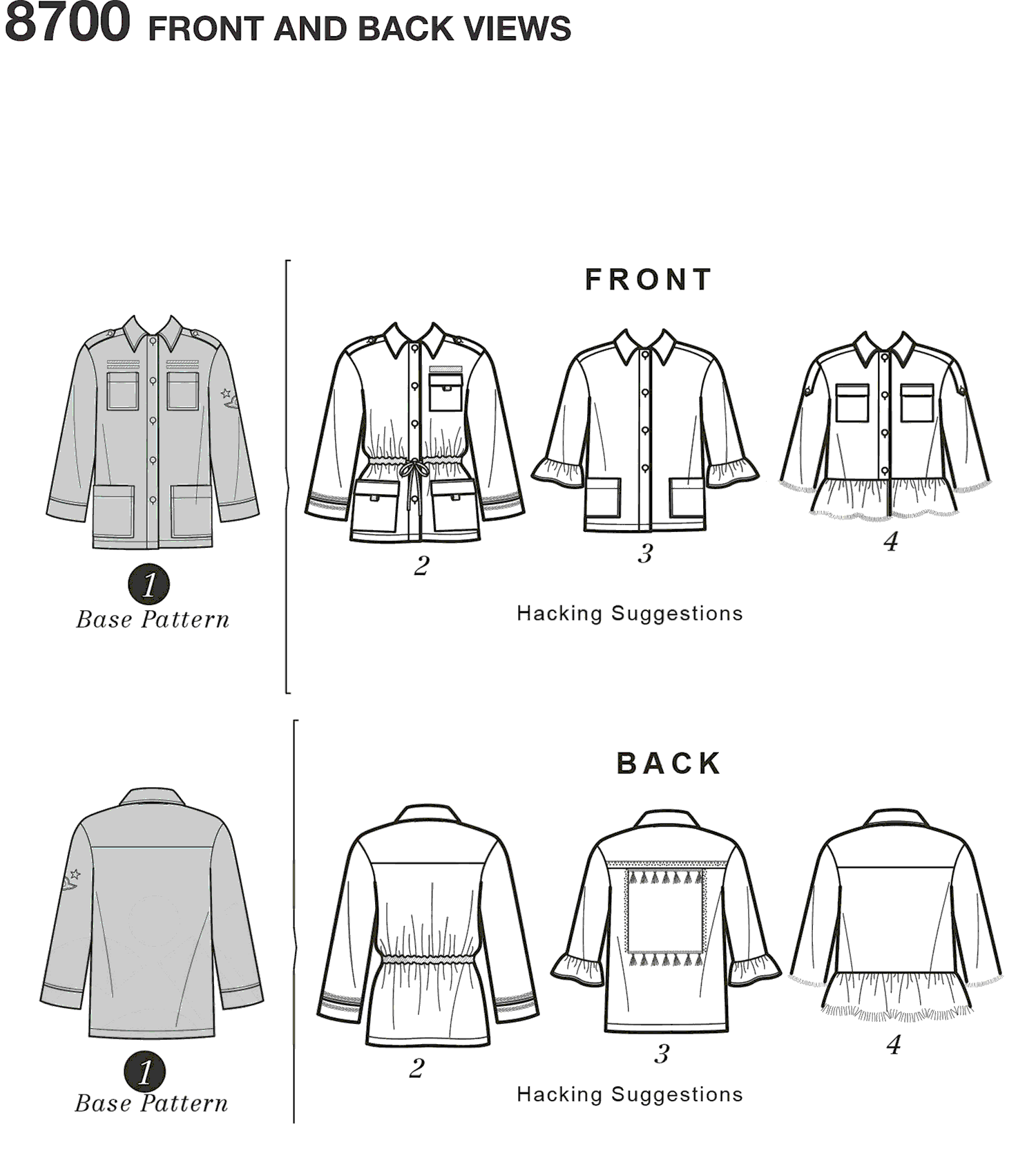 Simplicity Pattern 8700 Womens Jacket with Options for Design Hacking Line Art From Patternsandplains.com