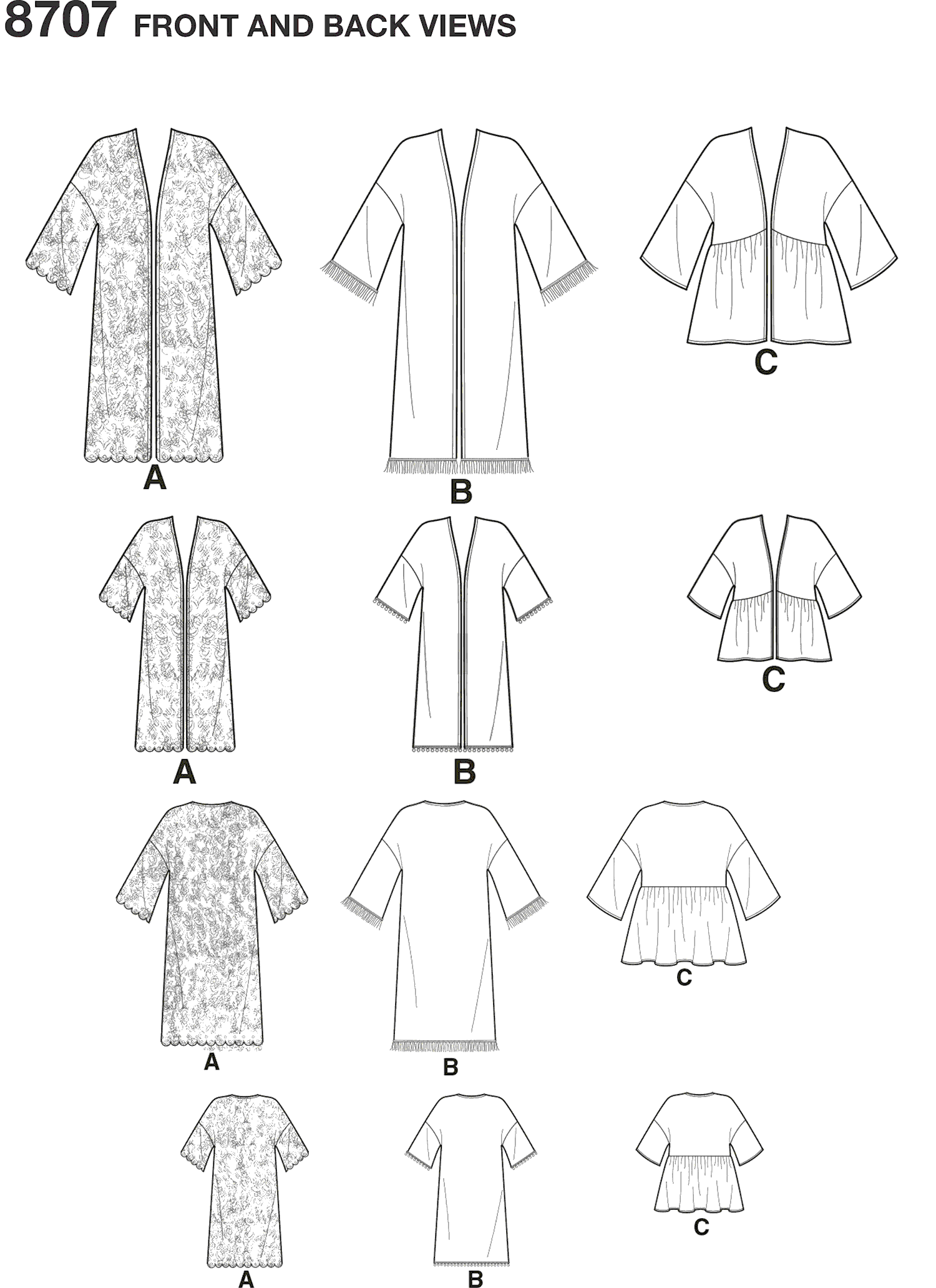 Simplicity Pattern 8707 Childs and Womens Kimonos Line Art From Patternsandplains.com