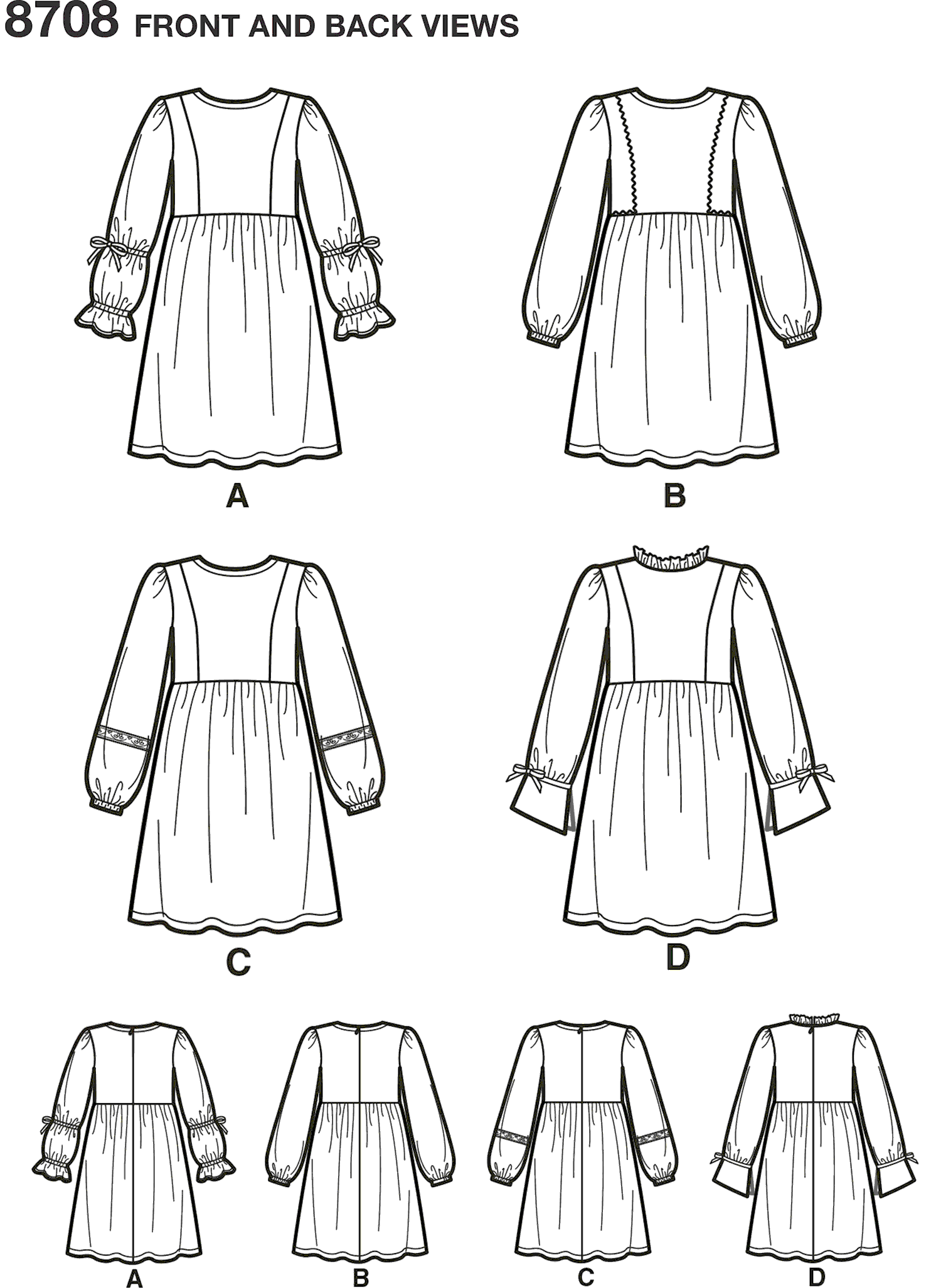 Simplicity Pattern 8708 Childs and Girls Dress with Sleeve Variations Line Art From Patternsandplains.com