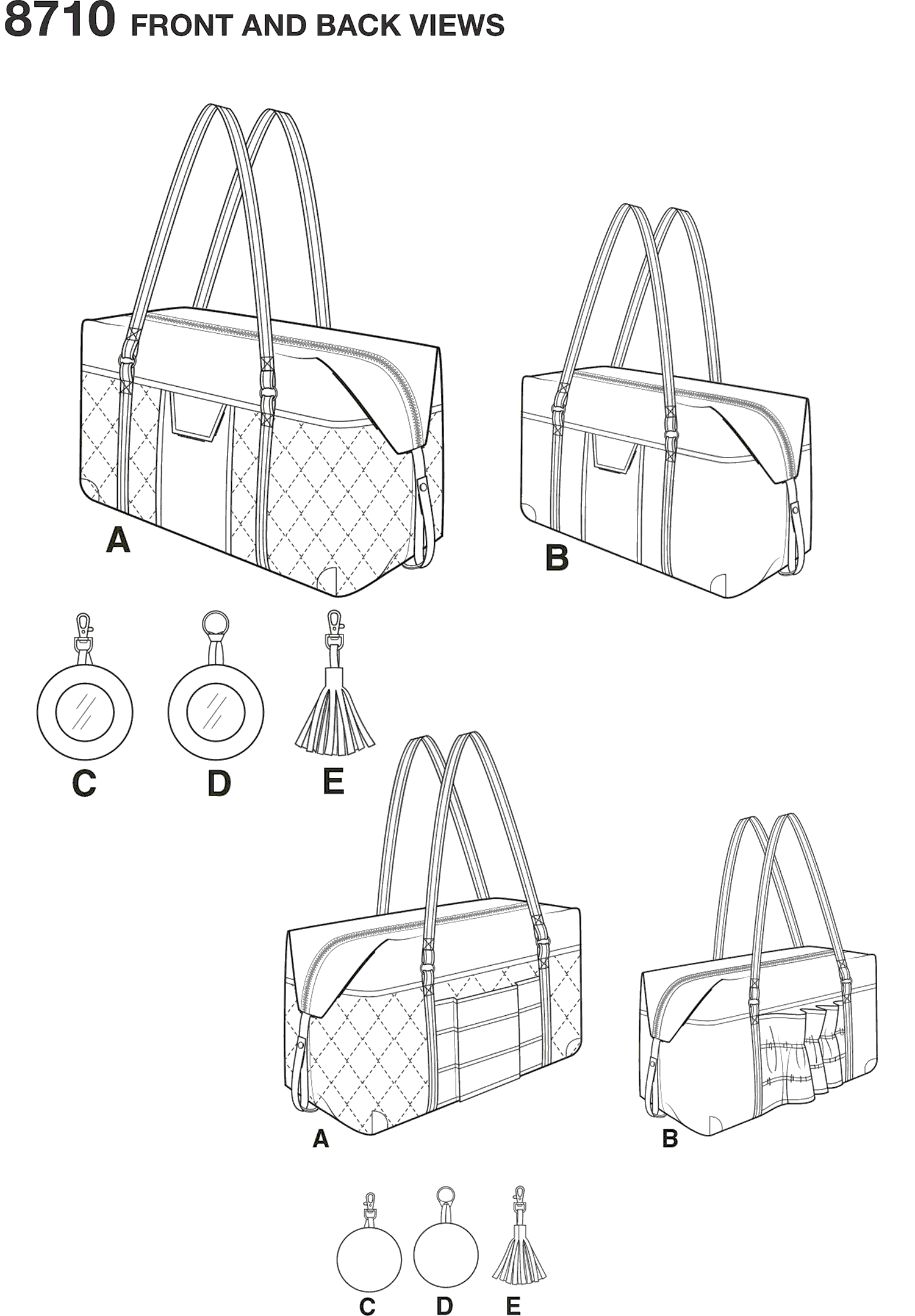 Simplicity Pattern 8710 Luggage Bags Key Ring and Tassel Line Art From Patternsandplains.com