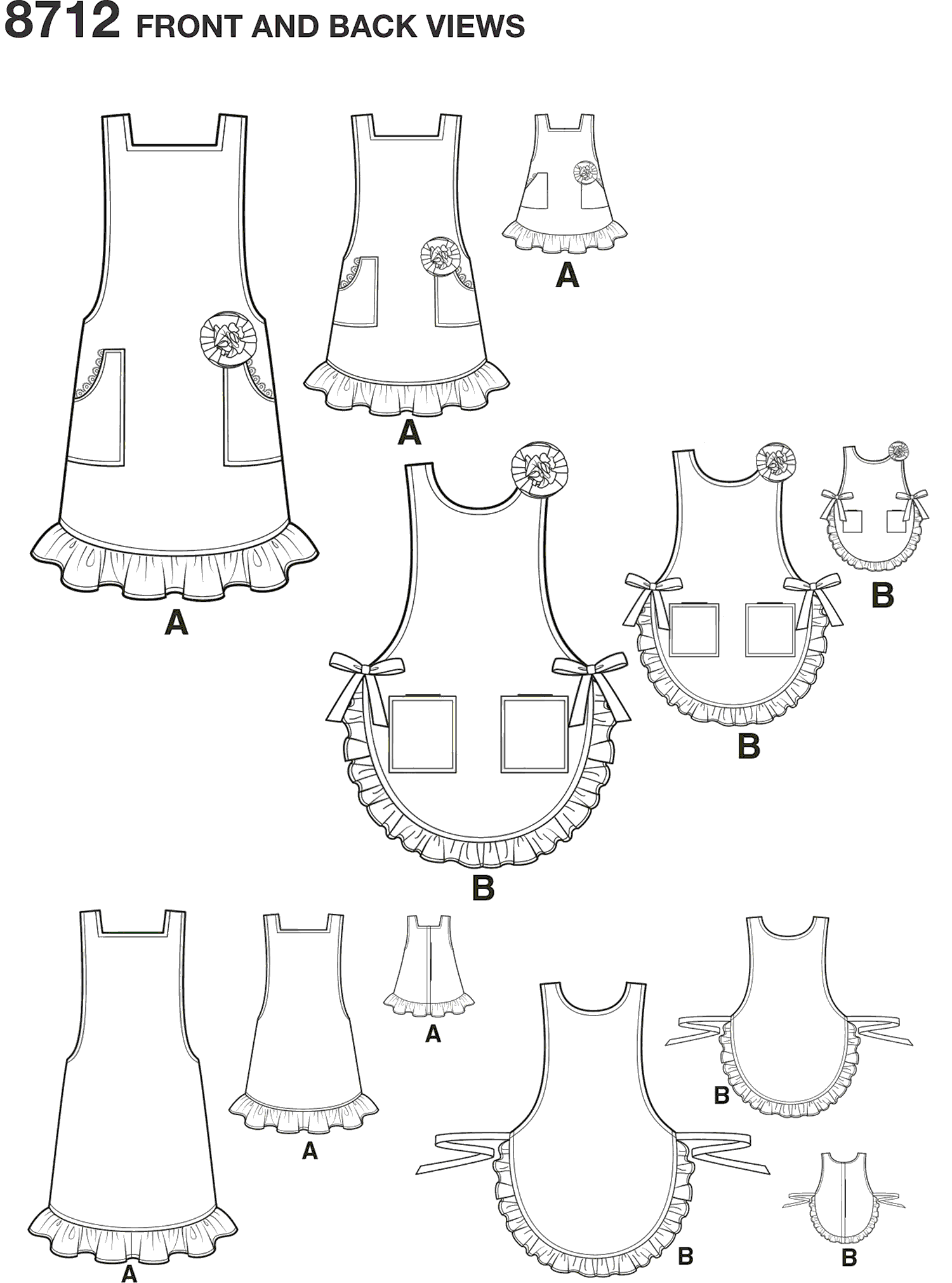 Simplicity Pattern 8712 Childs Womens and 18 Doll Aprons Line Art From Patternsandplains.com