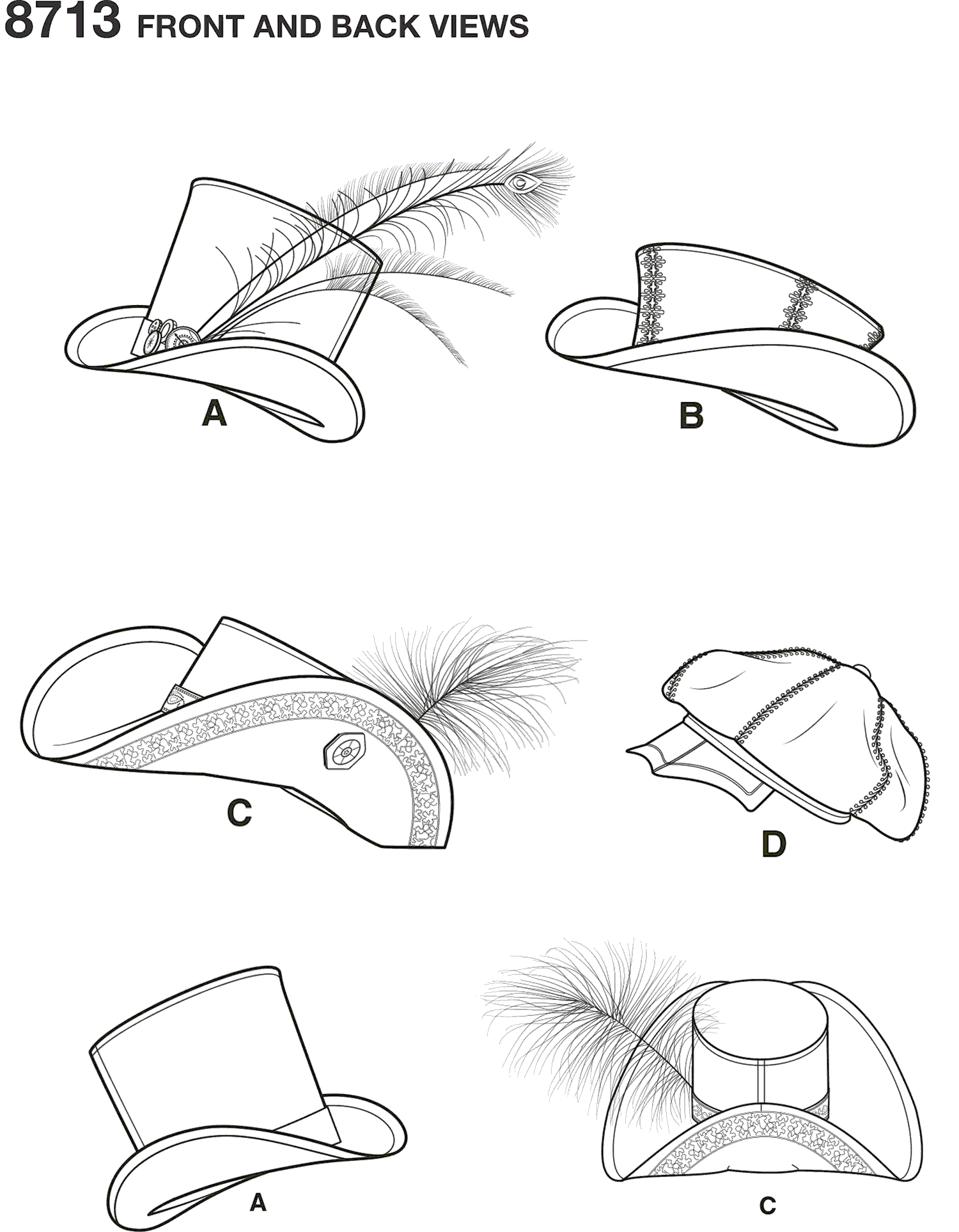 Simplicity Pattern 8713 Mens Hats in Three Sizes Line Art From Patternsandplains.com