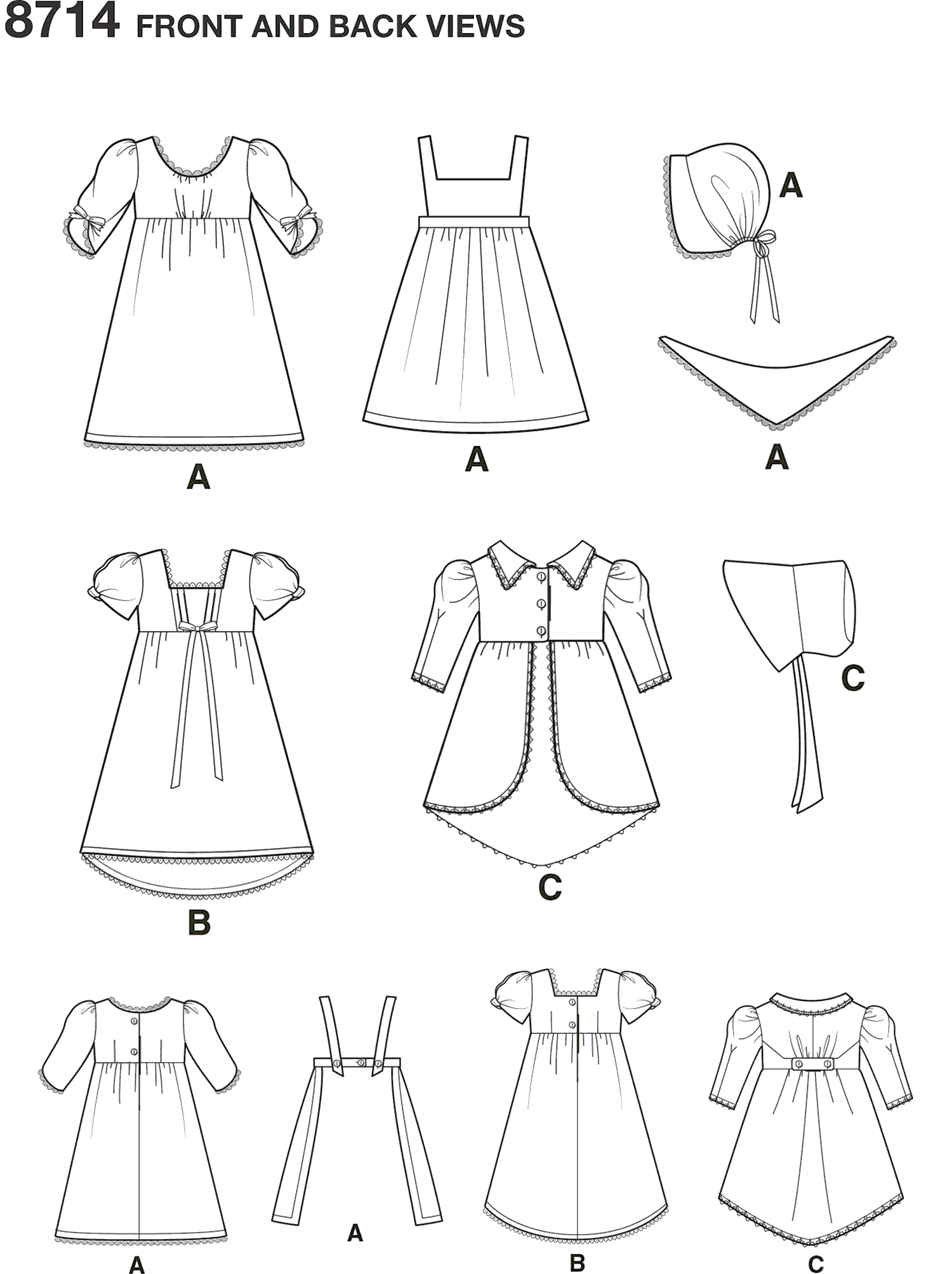 Simplicity Pattern 8714 18 Doll Clothes Line Art From Patternsandplains.com