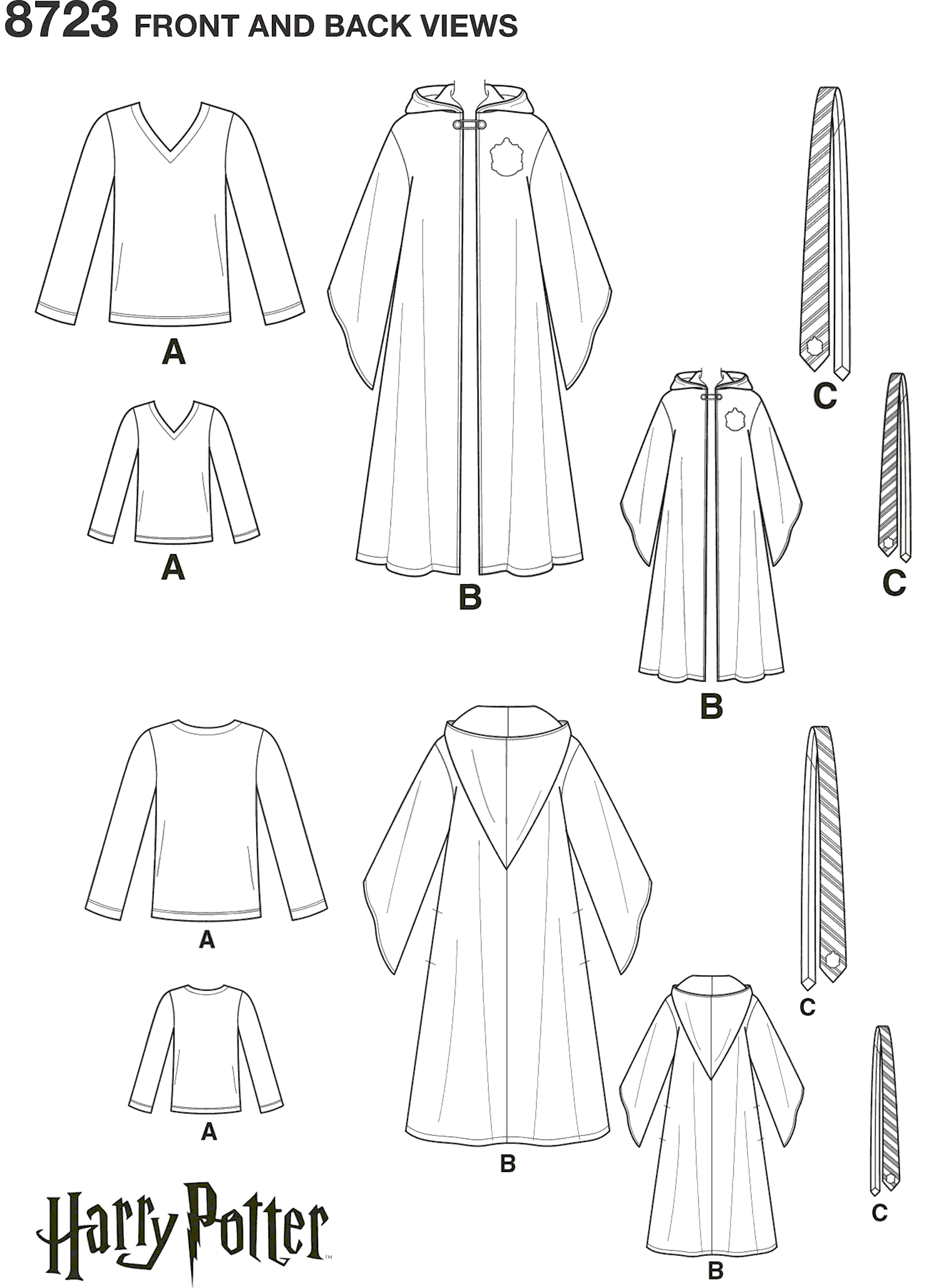 Simplicity Pattern 8723 Harry Potter Unisex Costumes Line Art From Patternsandplains.com
