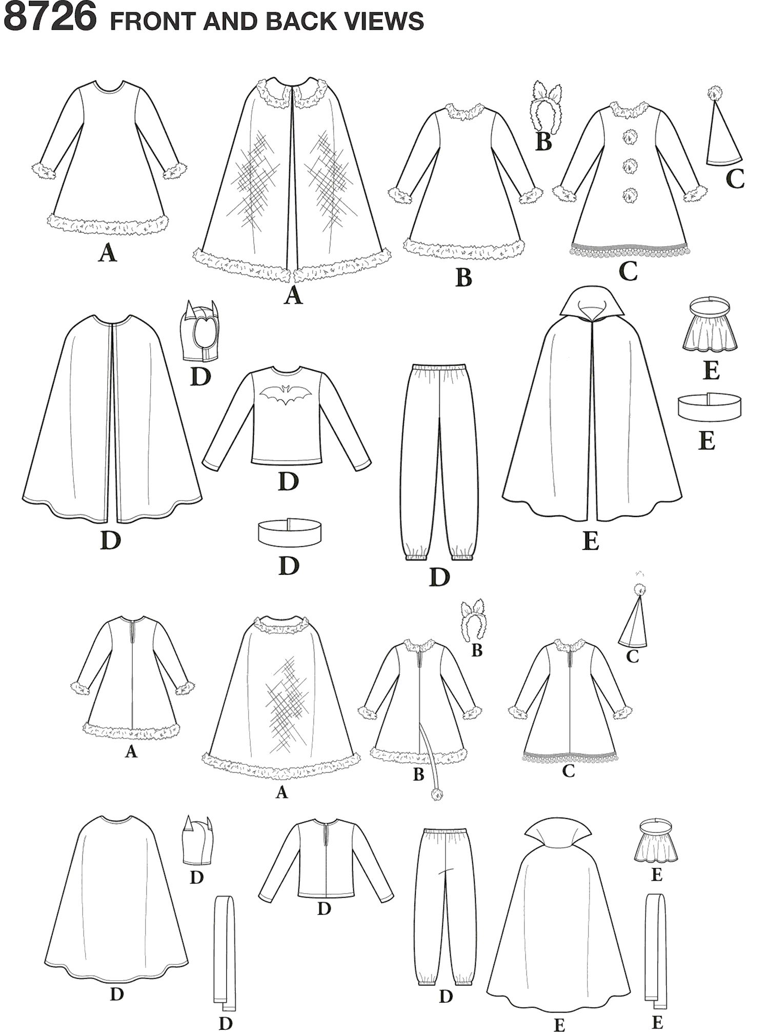 Simplicity Pattern 8726 Chids Costumes Line Art From Patternsandplains.com