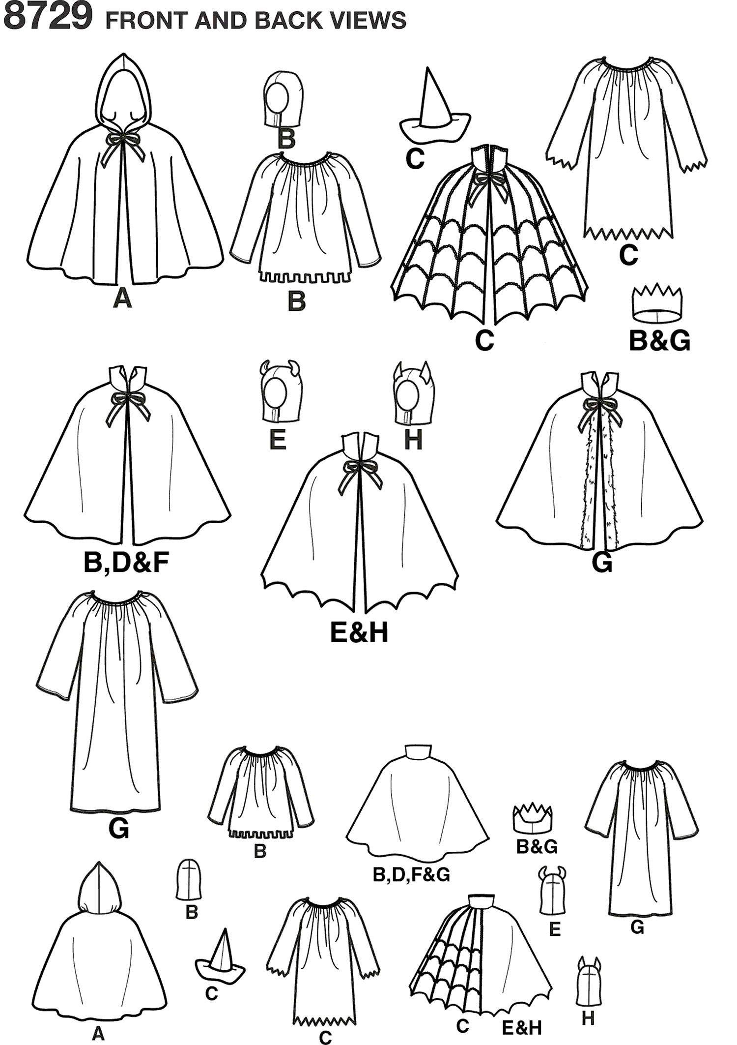 Simplicity Pattern 8729 Childs Cape Costumes Line Art From Patternsandplains.com