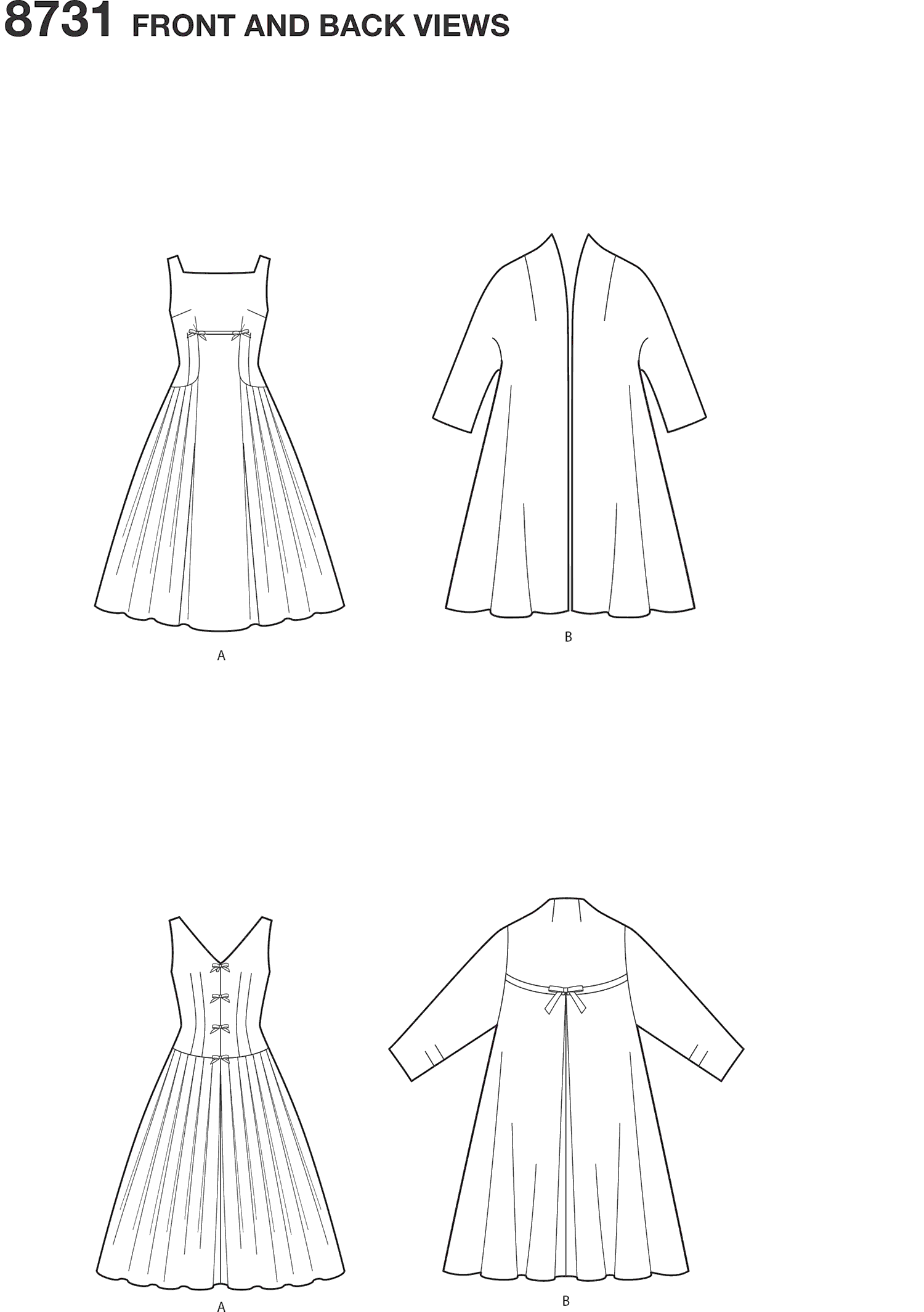 Simplicity Pattern 8731 Womens Vintage Dress and Lined Coat Line Art From Patternsandplains.com