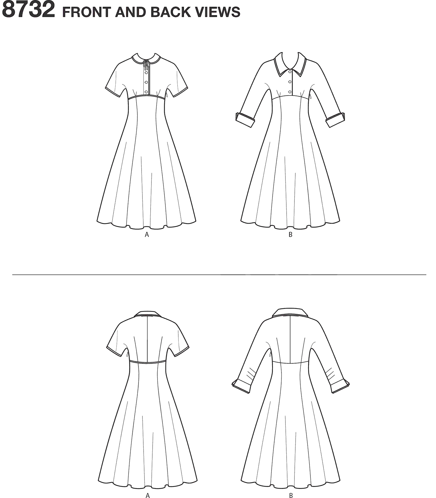 Simplicity Pattern 8732 Womens Vintage Dress Line Art From Patternsandplains.com