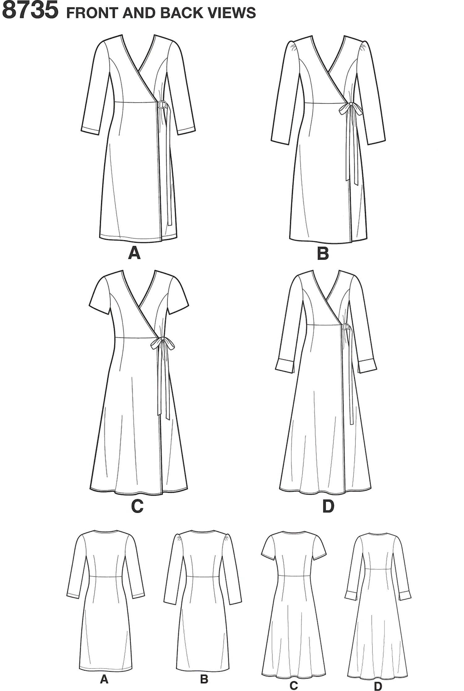Simplicity Pattern 8735 Womens Petite Womens Wrap Dress Line Art From Patternsandplains.com
