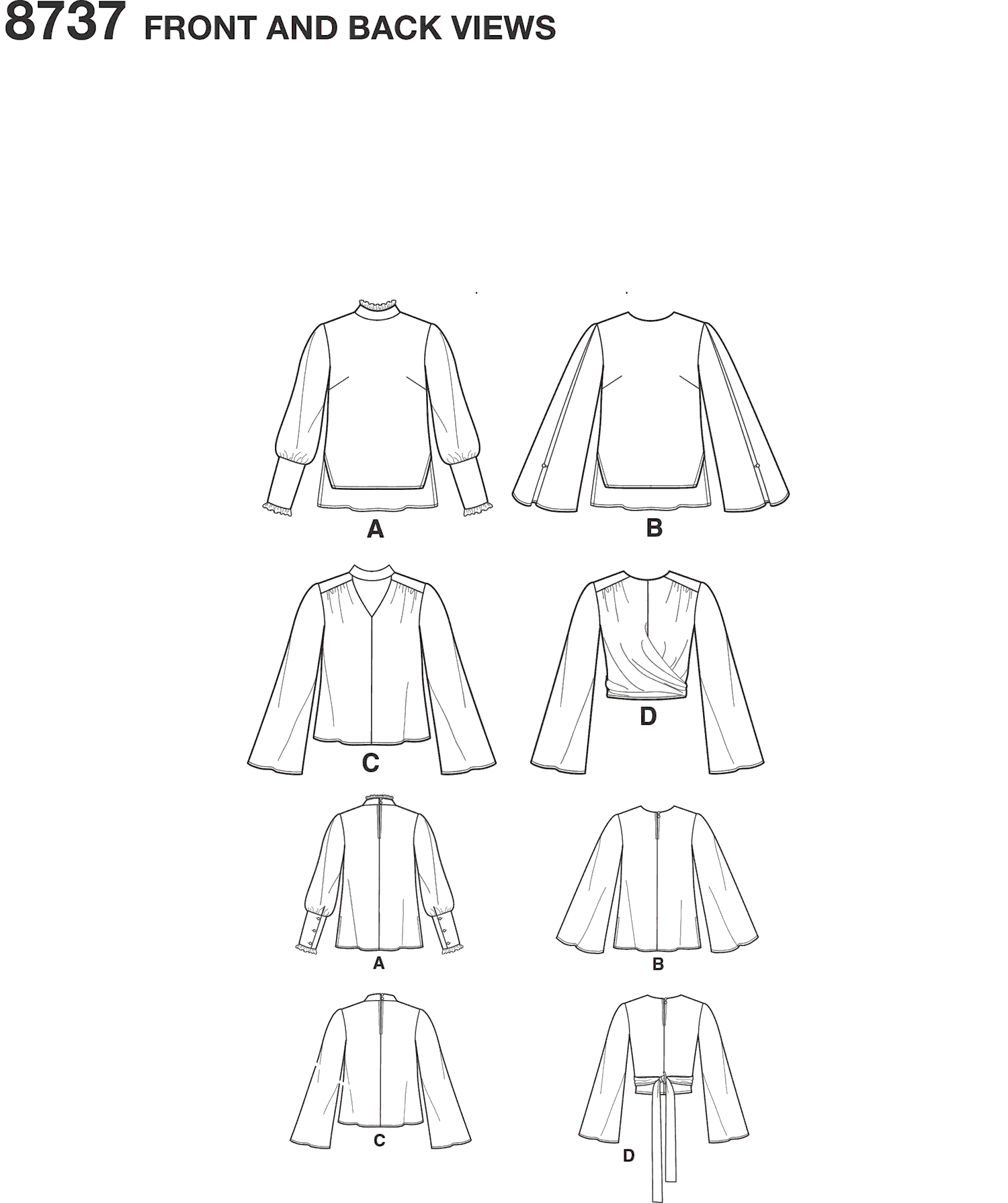 Simplicity Pattern 8737 Womens Blouses Line Art From Patternsandplains.com