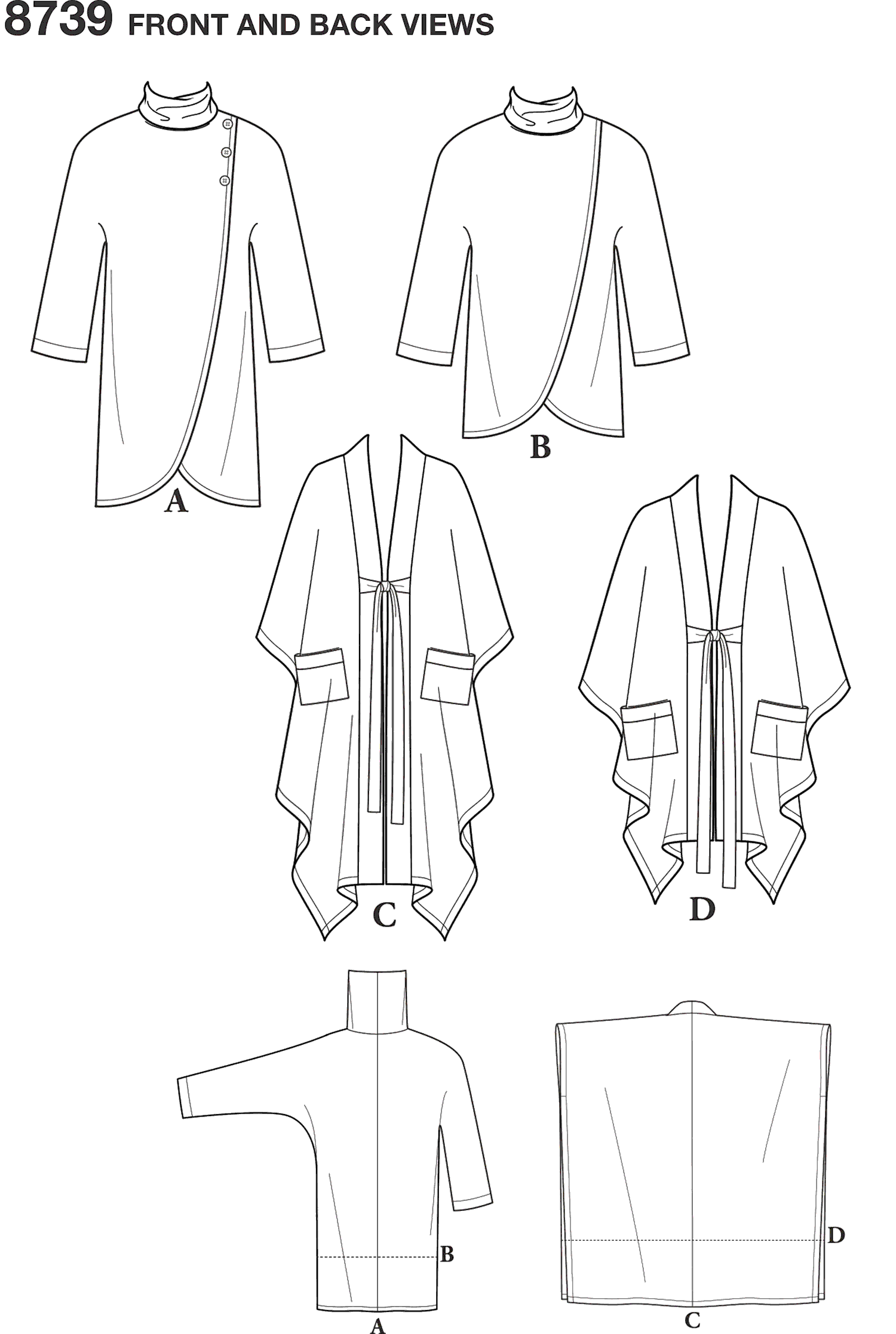 Simplicity Pattern 8739  Womens Poncho and Topper Line Art From Patternsandplains.com