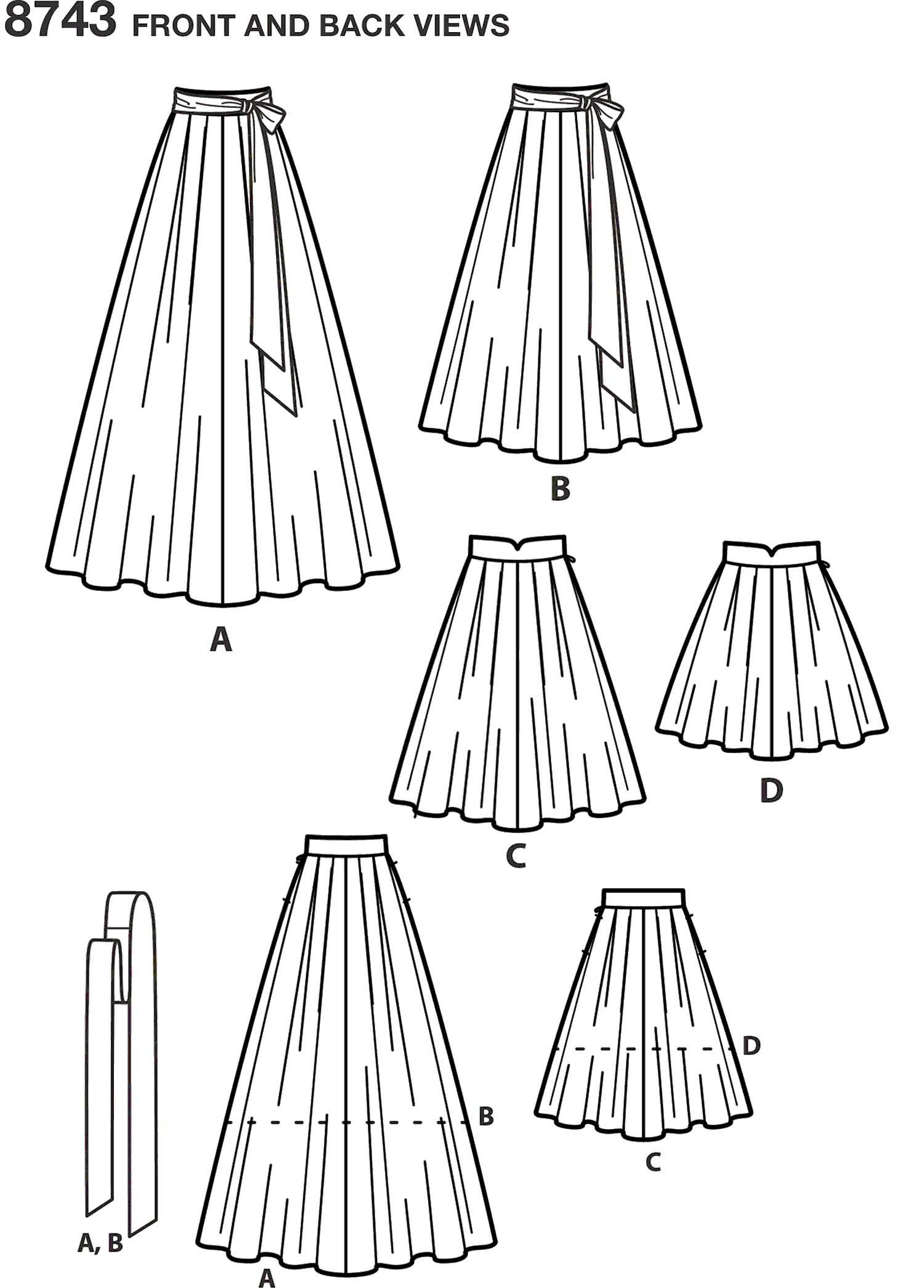 Simplicity Pattern 8743 Womens Pleated Skirts Line Art From Patternsandplains.com
